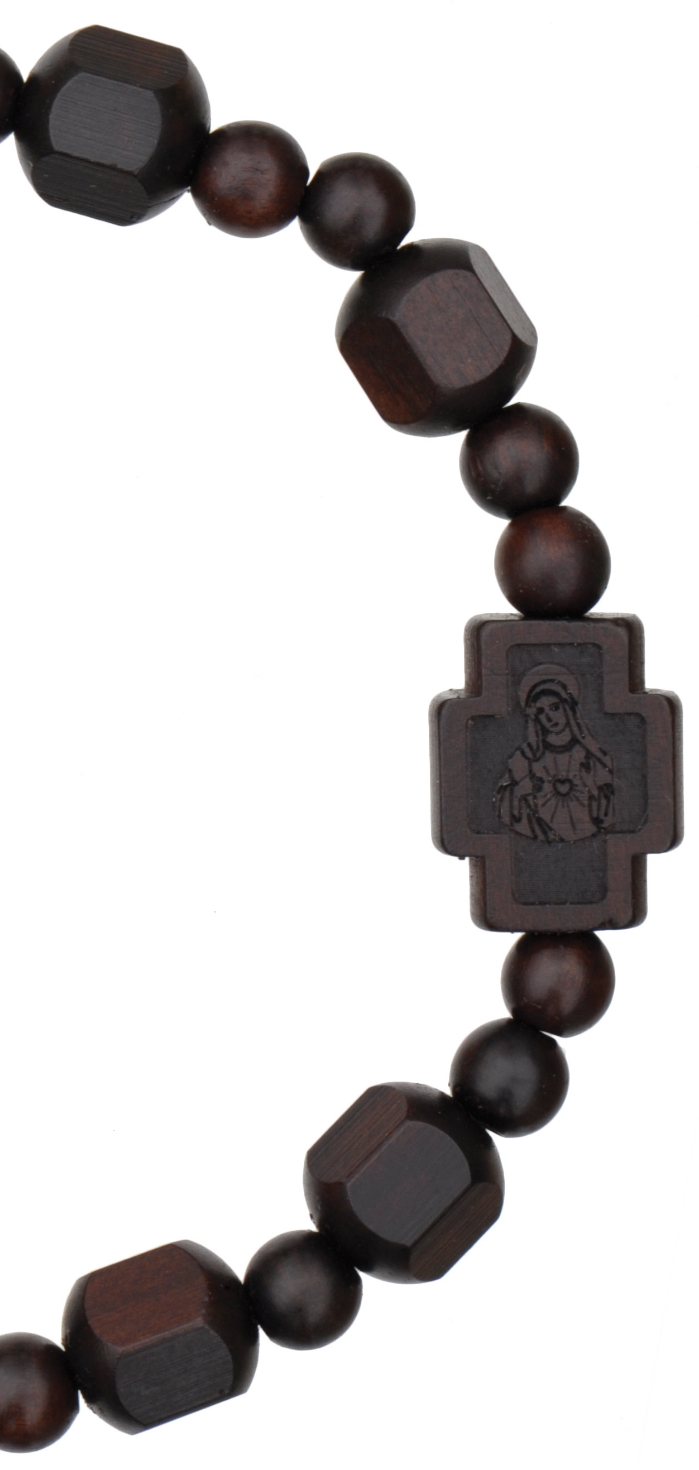 Jujube Wood Rosary Bracelet Hex Cut