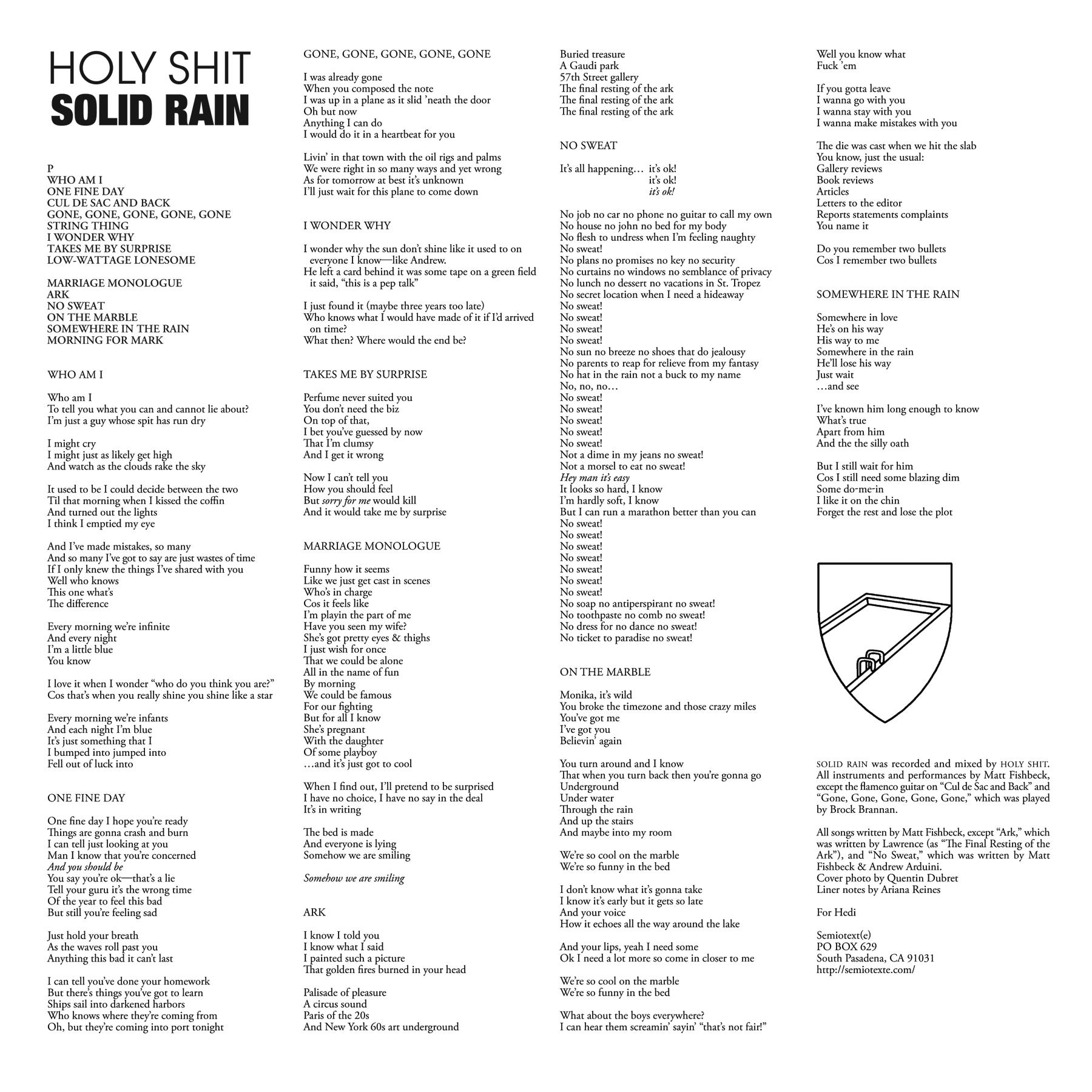 Holy Shit: Solid Rain — Semiotext(e)