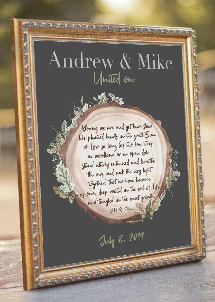 Gay Wedding J R R Tolkien Poem Same Sex Wedding Lgbt Gay Wedding Gift