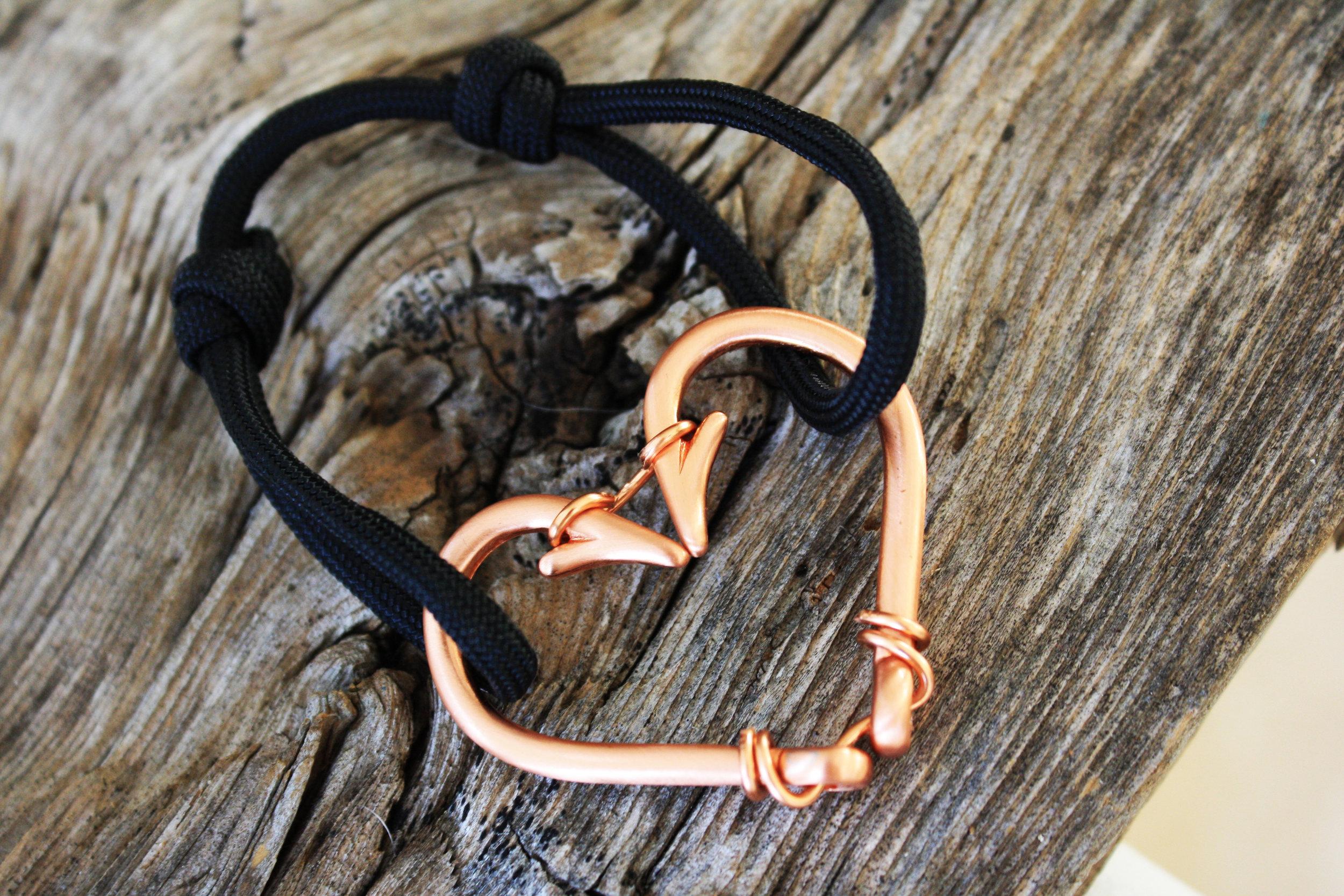 Rose Gold Fish Hook Heart Bracelet