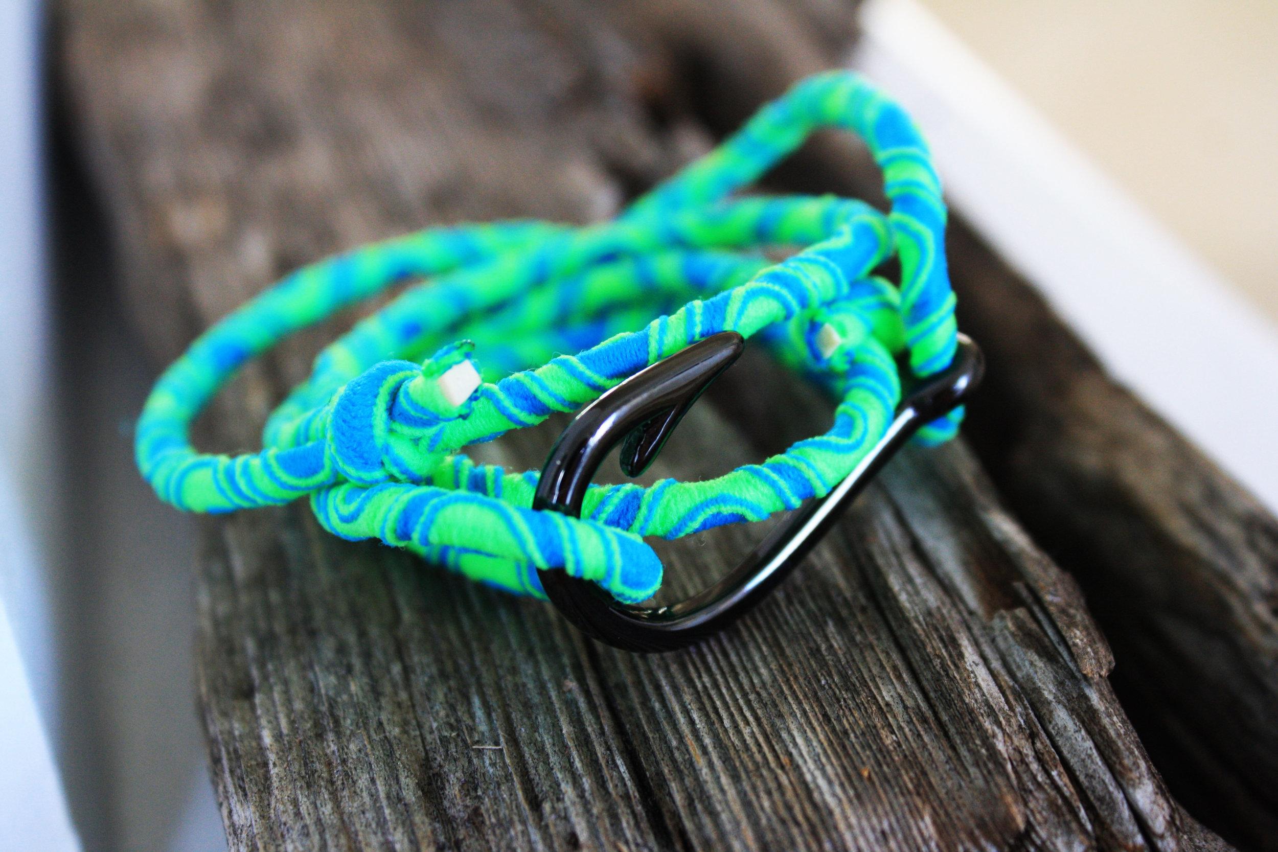 Fish Hook Bracelet With Teal Blue Elastic Cord Gone Coastal