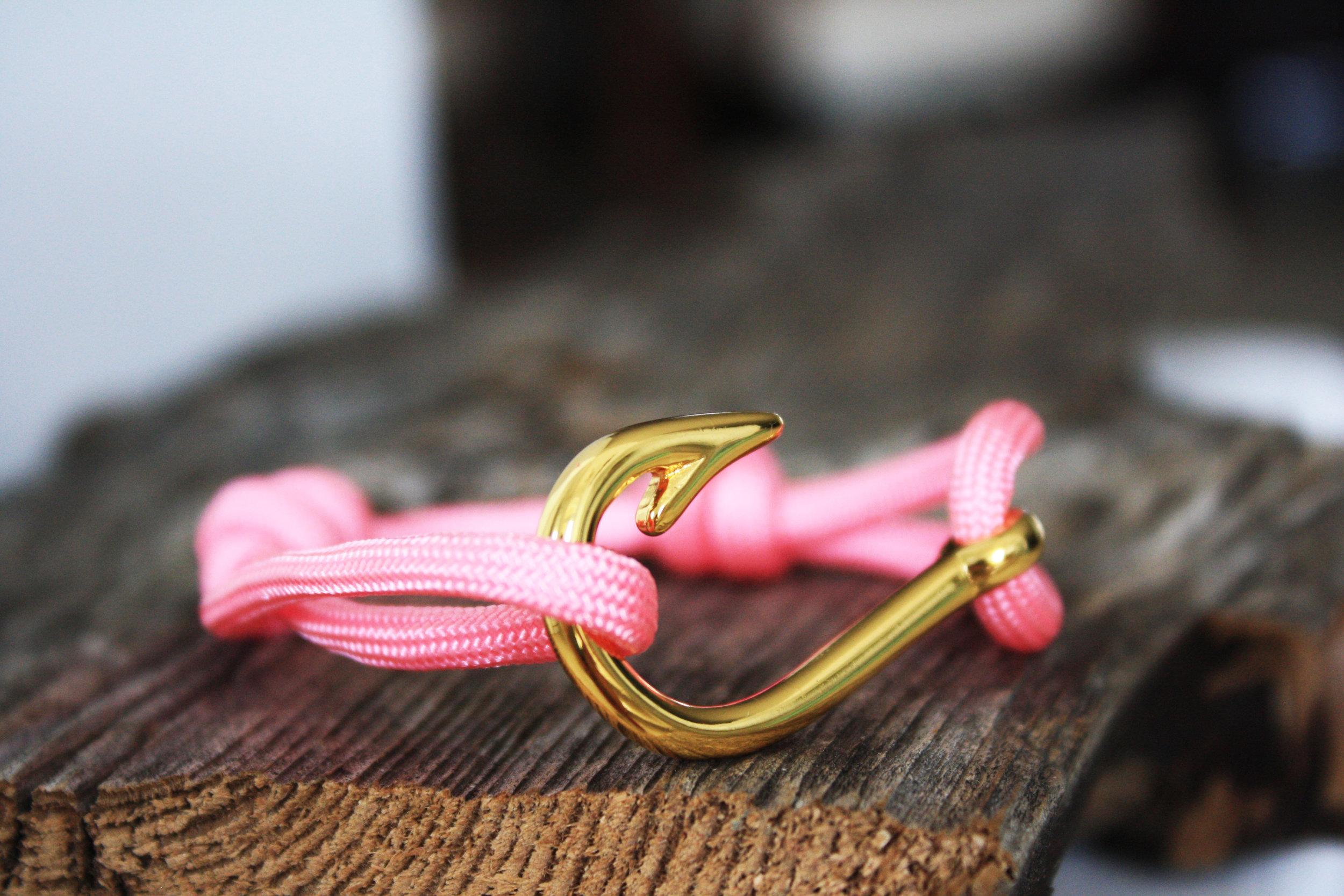 Fish Hook Bracelet With Rose Pink