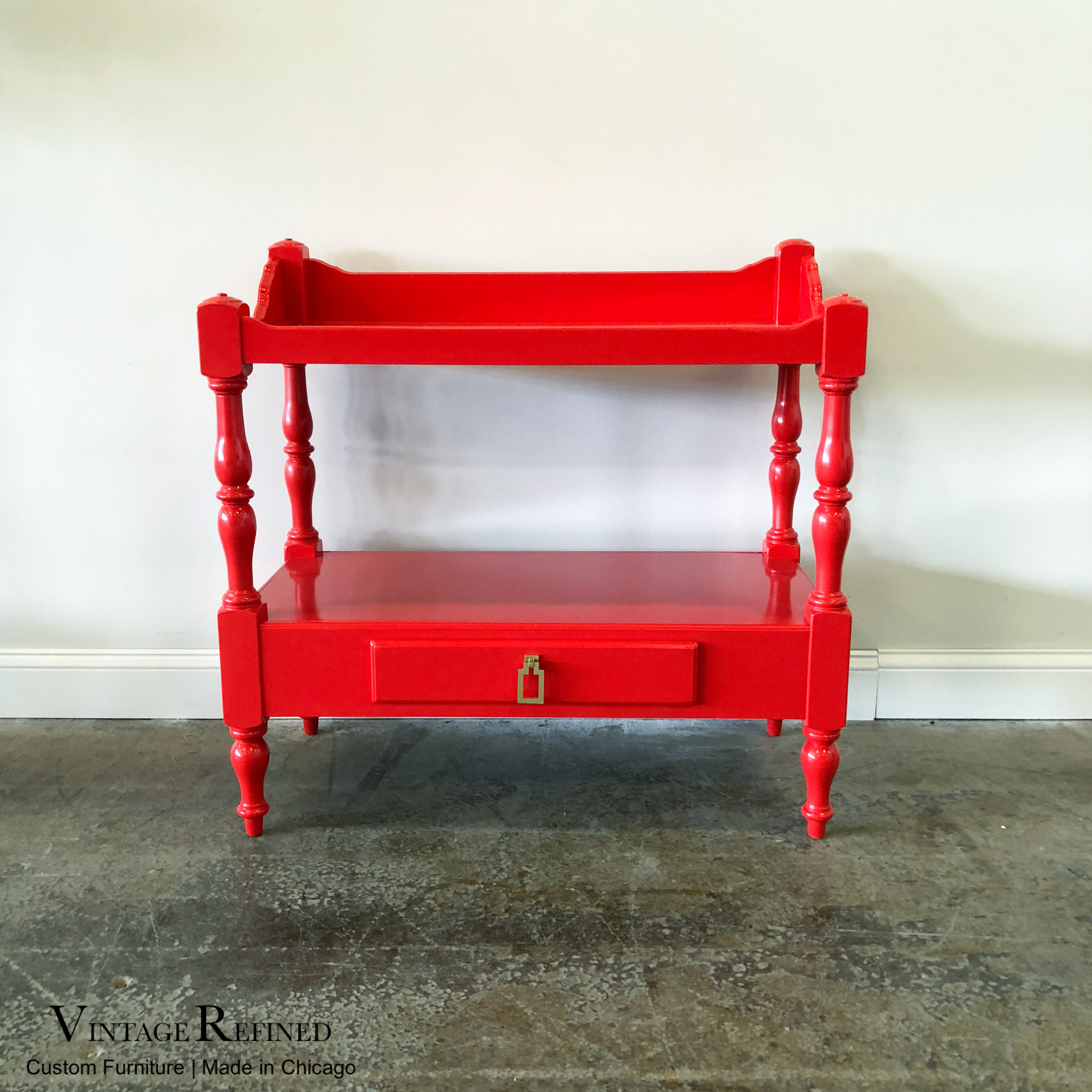 - Vintage Refined - AVAILABLE: Red Lacquer Bar Cart / Accent Table