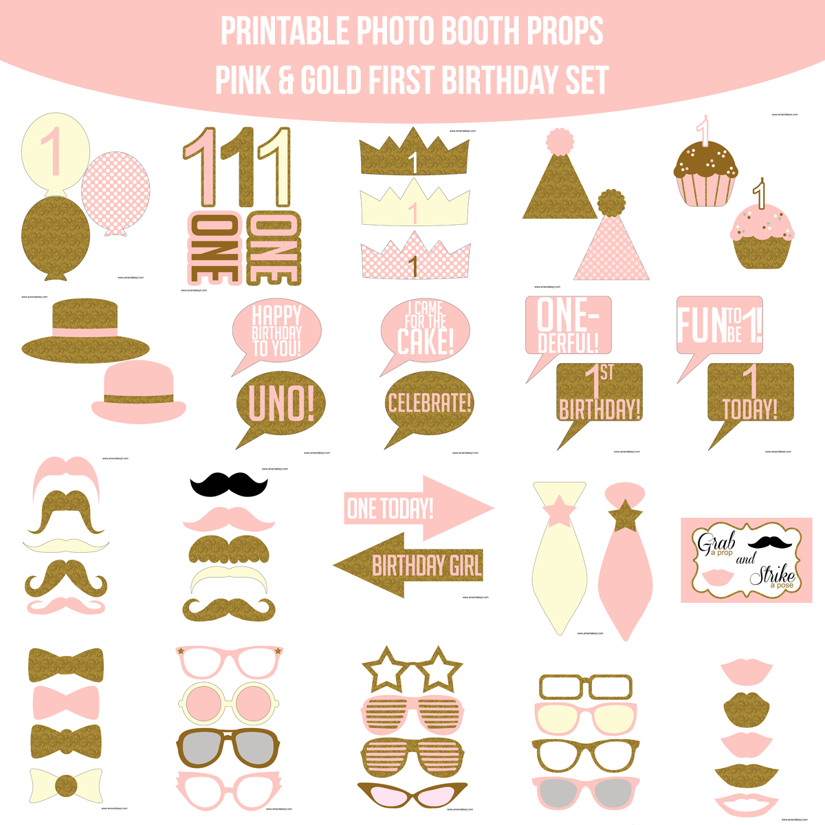 image regarding Printable Photo Booth Props Birthday named Fast Obtain Very first Birthday Purple Gold Glitter Printable Image Booth Prop Fixed Amanda Keyt Printable Options