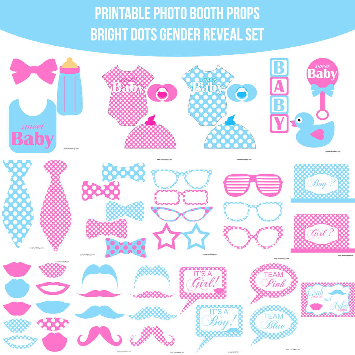 graphic about Baby Shower Photo Booth Props Printable known as Fast Down load Youngster Gender Explain Dazzling Dots Printable Image Booth Prop Fastened Amanda Keyt Printable Plans