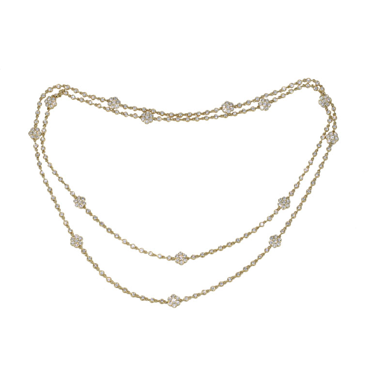 Diamond Chain And Flower Station 36 Necklace Jeri Cohen Fine