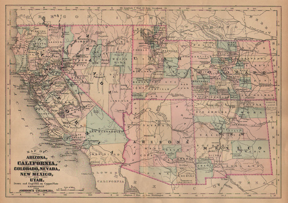 Johnson 1889 Antique Map of California, Colorado, New Mexico & Utah — Real  Old Art - Authentic Affordable Old Antique Maps & Prints