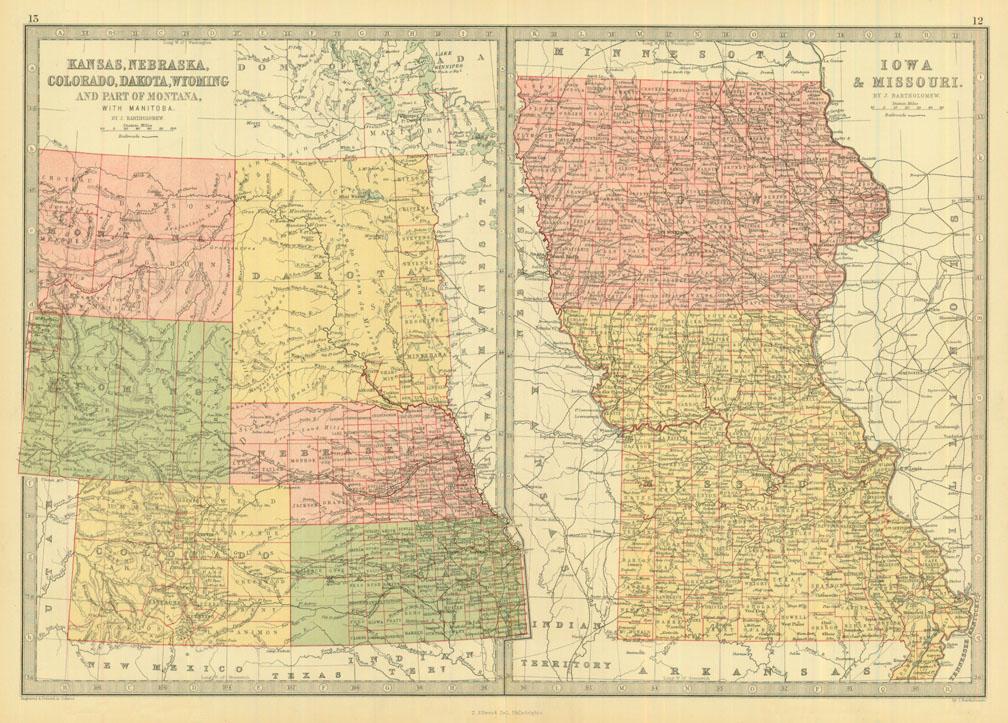 Bartholomew 1873 Antique Map of Kansas, Nebraska, Colorado, Dakota,  Wyoming, Iowa & Missouri — Real Old Art - Authentic Affordable Old Antique  Maps & ...