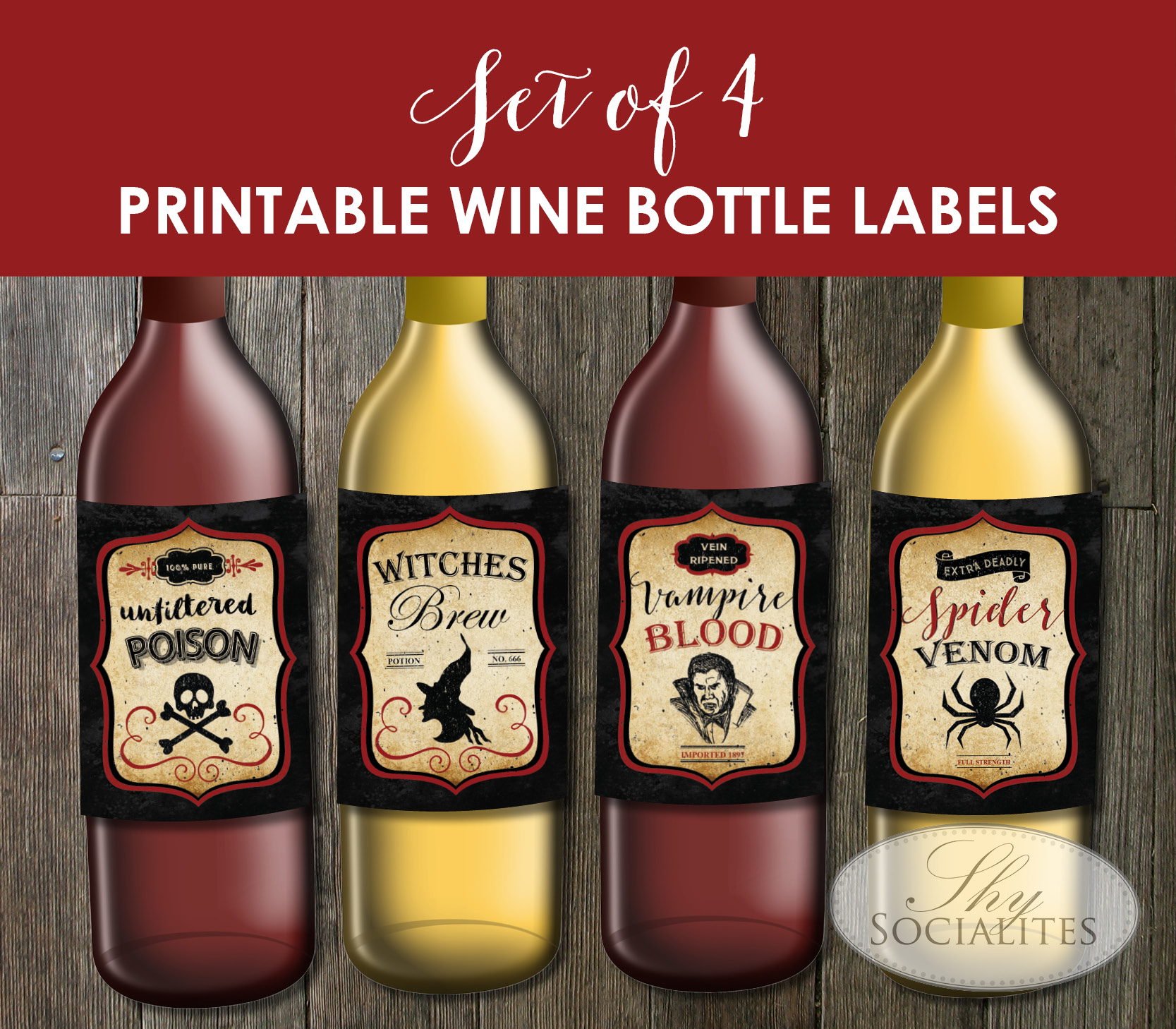 image about Printable Wine Bottle Labels identified as Fastened of 4 Printable Basic Halloween Wine Bottle Labels Shy Socialites