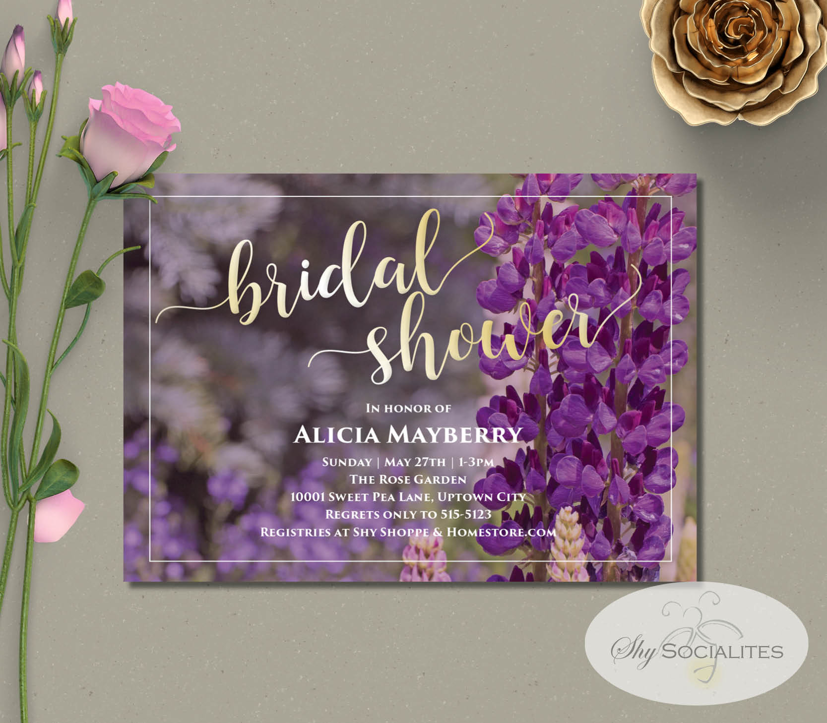 Purple Wildflowers Fl Bridal Shower Invitation Shy Socialites