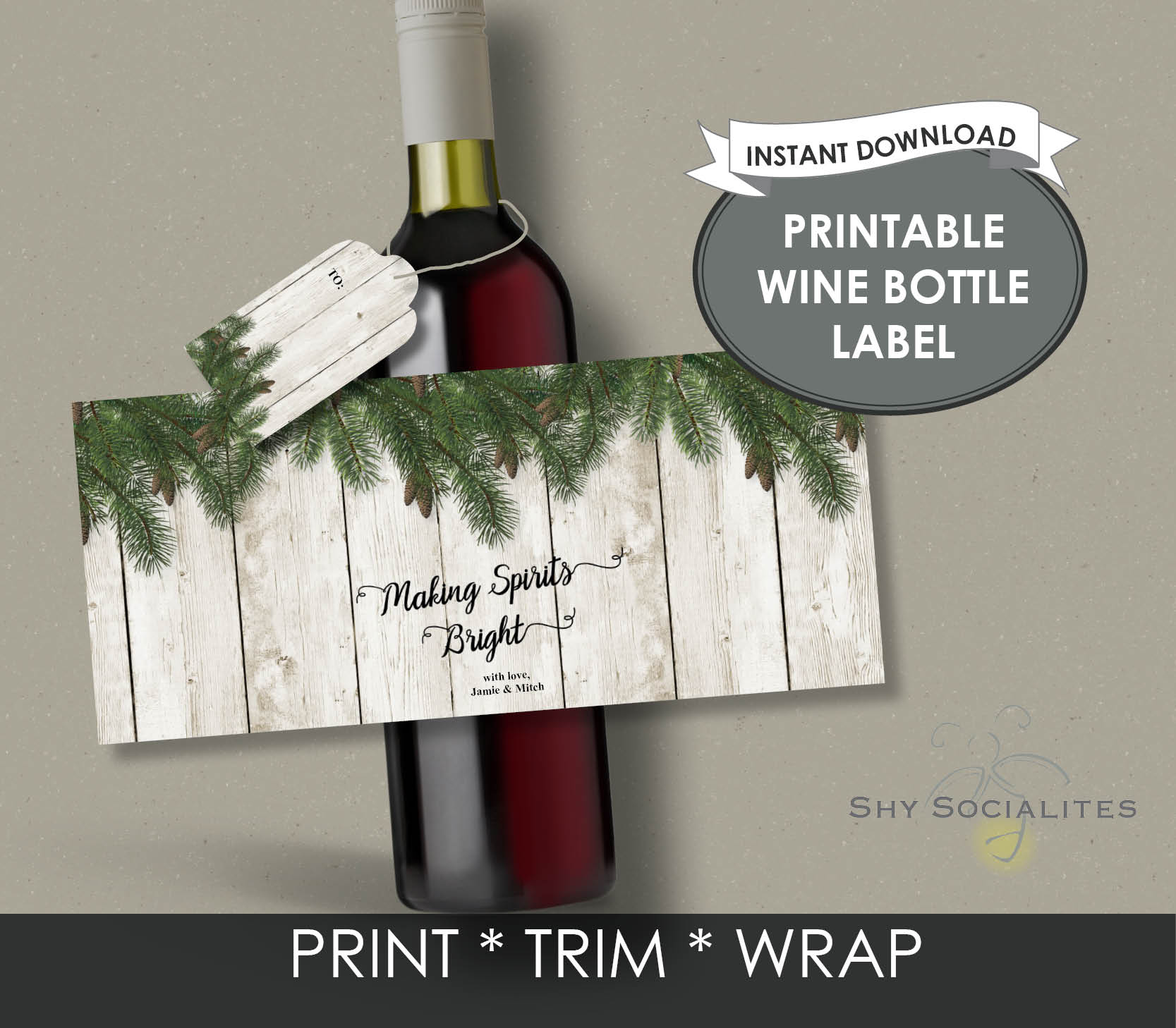 photo regarding Printable Wine Bottle Label named Vacation Printable Wine Bottle Label Shy Socialites
