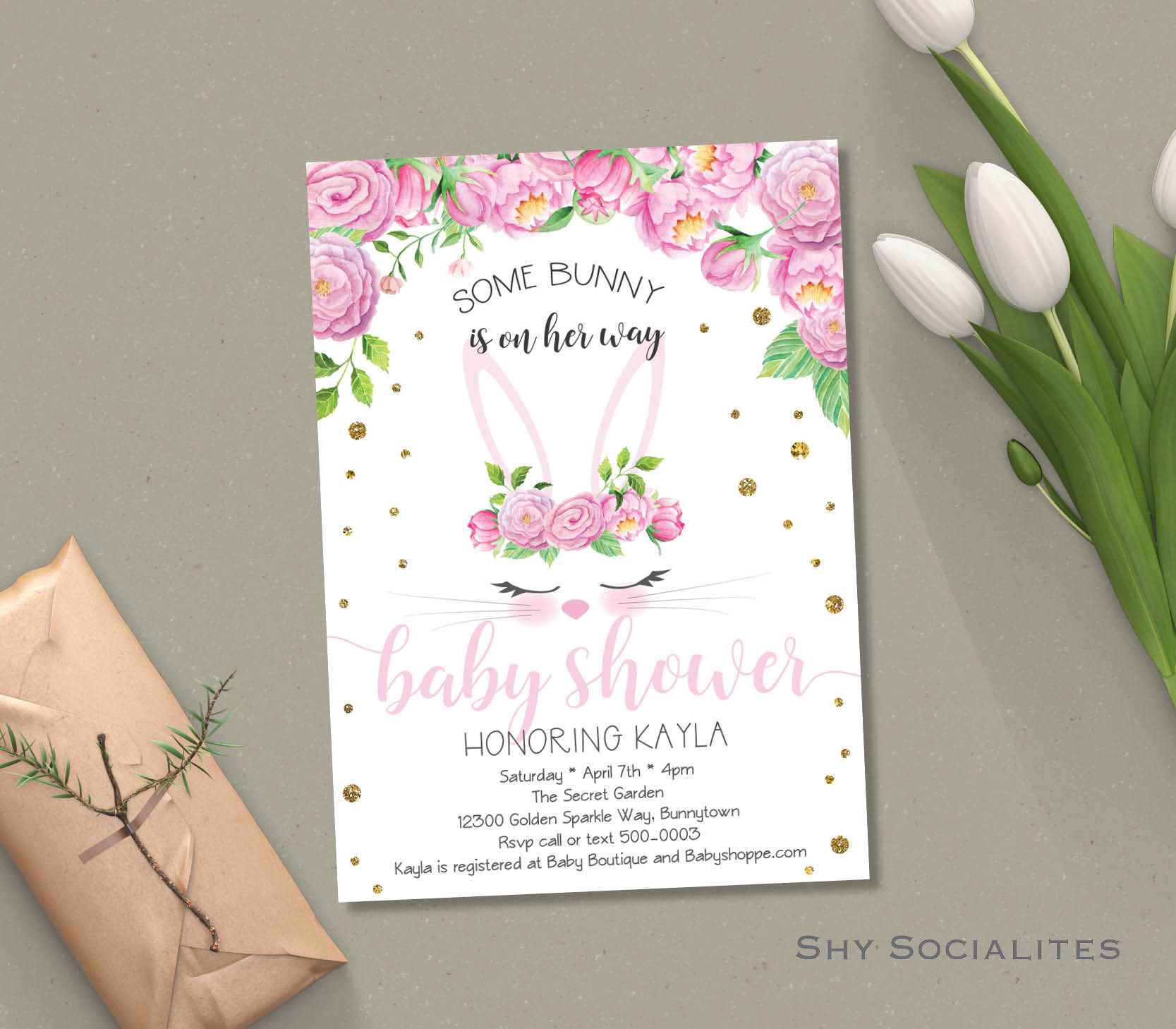 Bunny Face Easter Baby Shower Invitation Shy Socialites