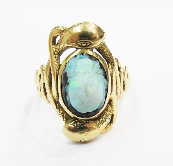 Ring. 14k yellow gold, boulder opal carved as scarab. Art Nouveau c.1900. Currently available at 灰色& Davis.