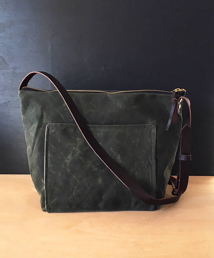 Large Olive Waxed Canvas Crossbody Thread Paper