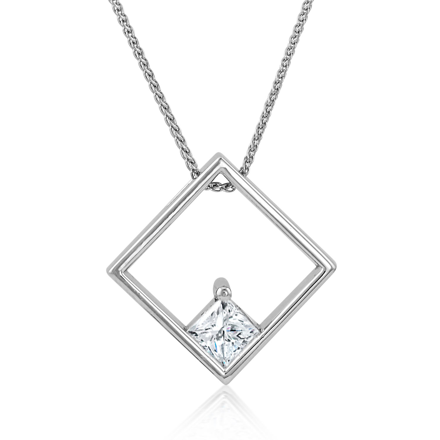 14k White Gold Princess Cut Square Necklace Mark Michael Diamond