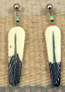 Item 718f Bone Carved And Decorated Eagle Feather Earrings Native American Ivory Bone Tooth Earrings Eagle Rock Trading Post Native American Jewelry