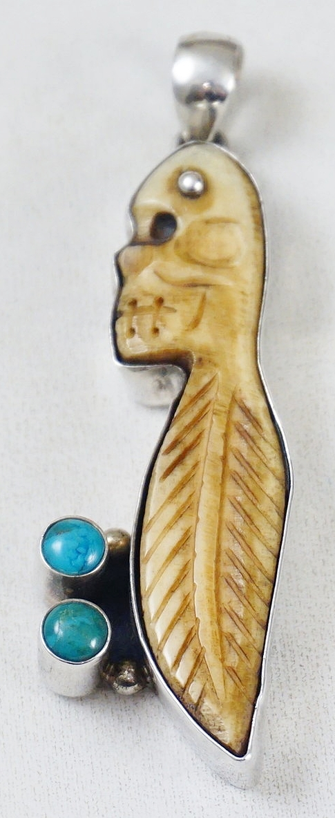 Item 881m Vintage Mexican Turquoise Carved Skull Feather Bone Pendant Native American Antler Horn Pins Pendants Eagle Rock Trading Post Native American Jewelry
