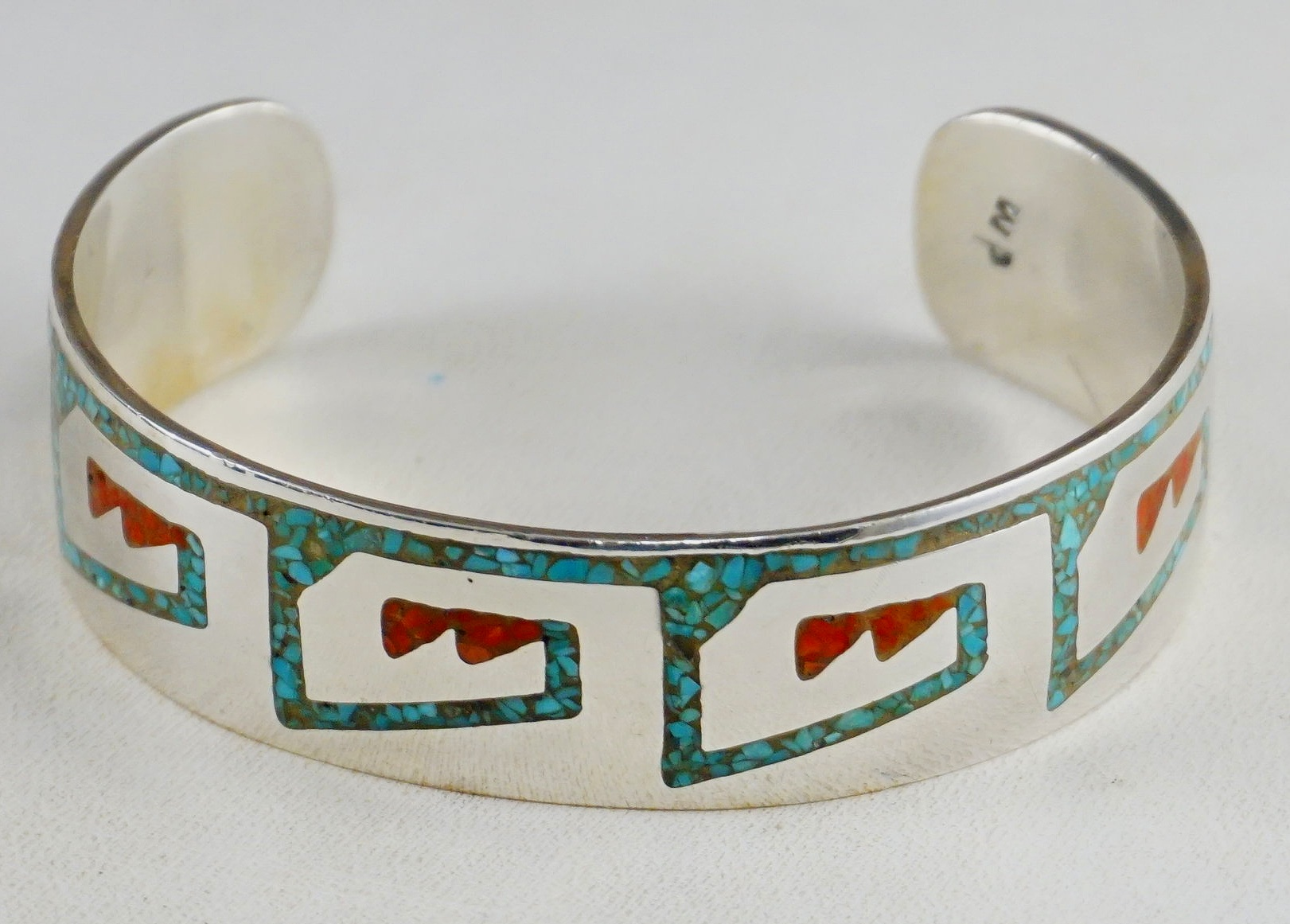 1dc7aa4e5b7 Item #895E- Vintage Navajo Turquoise Coral Chip Inlay Water Wave Symbol Silver  Cuff Bracelet