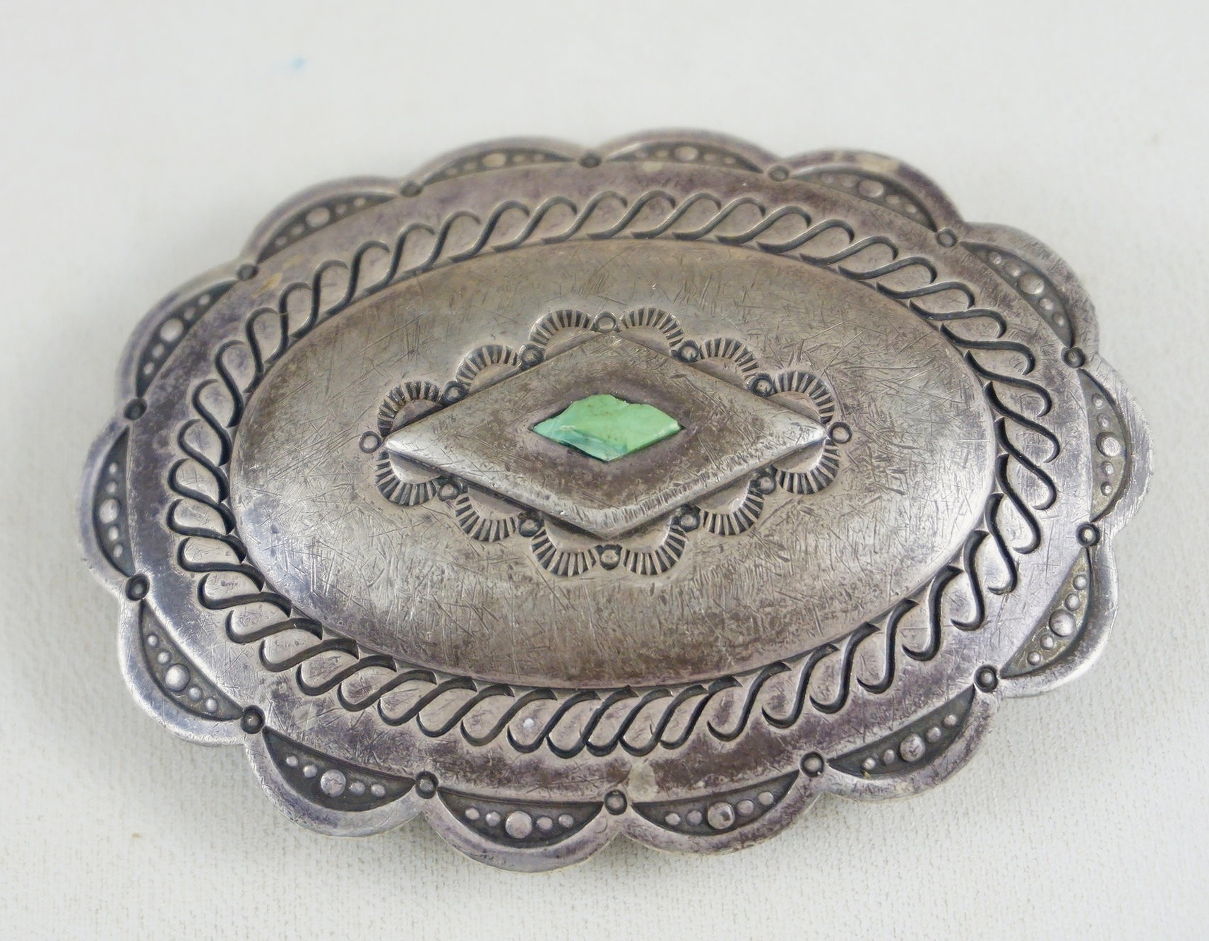 Item 897B Vintage 30s 40s Navajo Green Turquoise Decorative Stamped Collectors Concho Buckle Native American Belt Buckles EAGLE ROCK