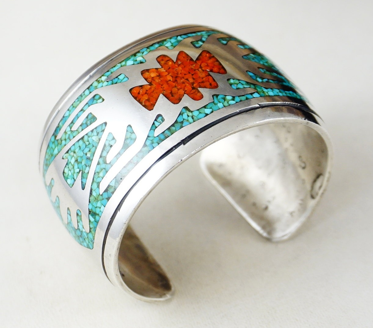 Vintage Coral Turquoise Sterling Silver Mexico Bracelet