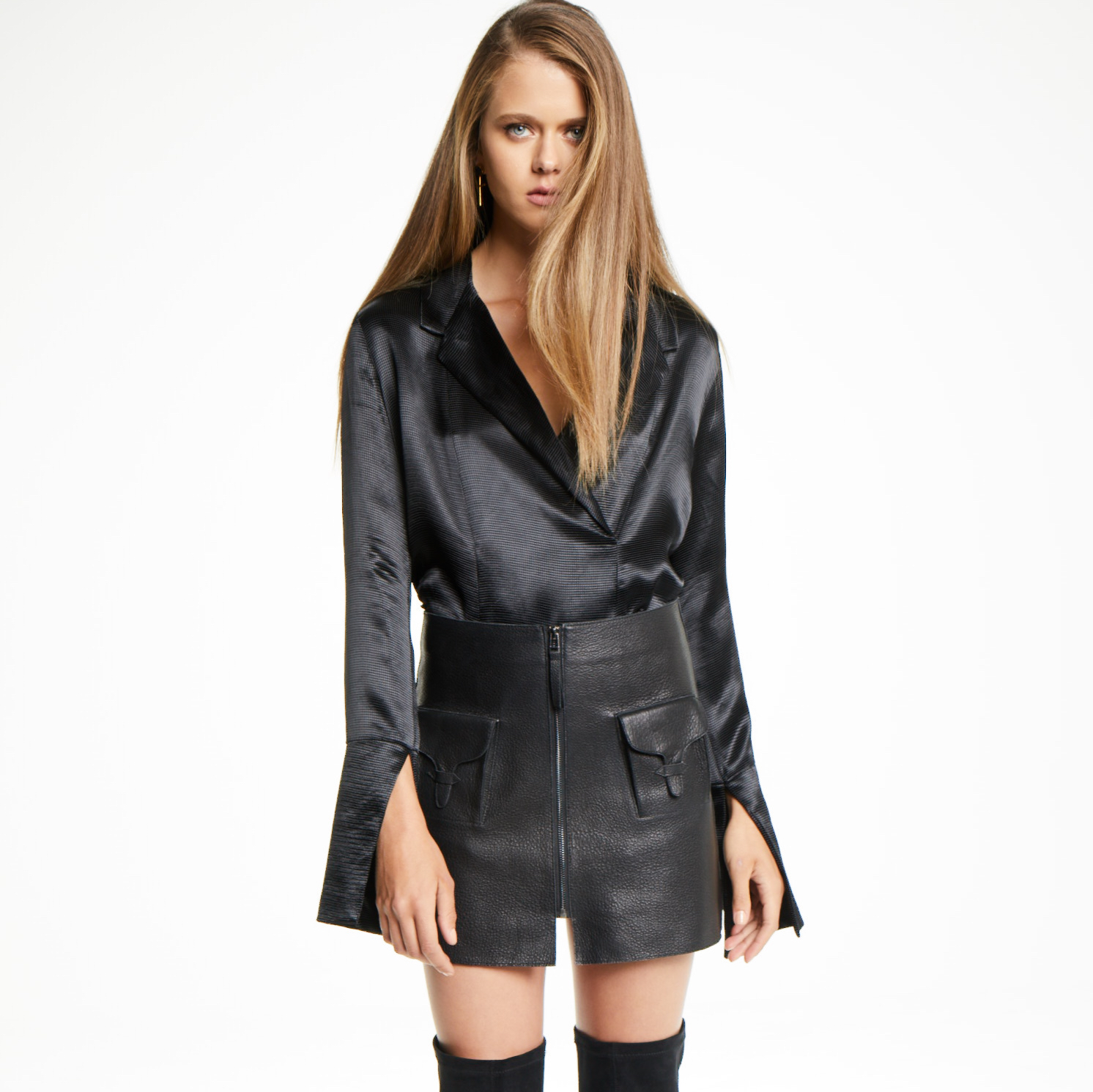 hoard as a rare commodity find lowest price enjoy free shipping Pocket Black Leather Skirt — S T A N Z E E