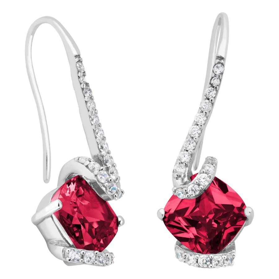 Sterling Silver Created Ruby And White Topaz Earrings Gordon Jewelers