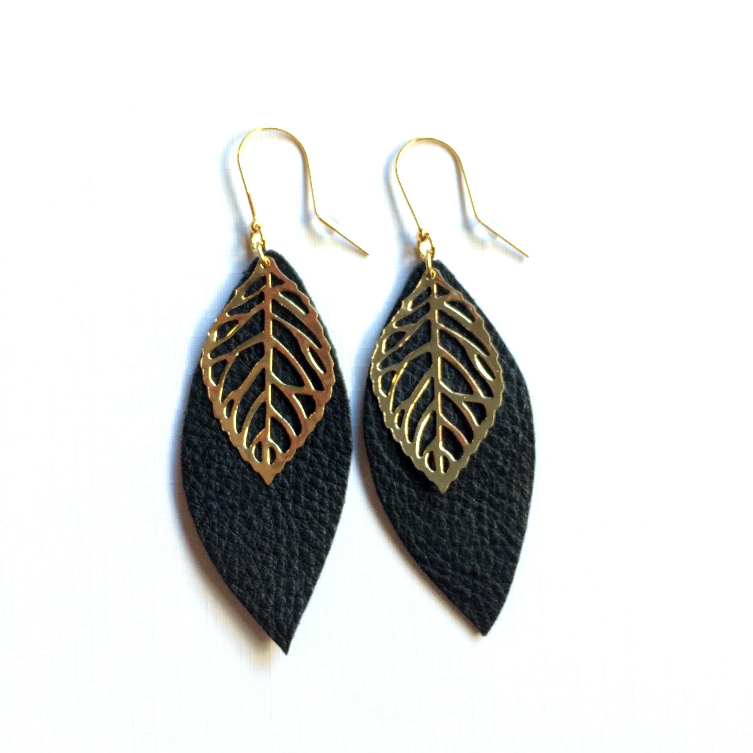Dark gold brown mint leather earrings metallic gold feather earrings Leaf earrings long earrings Leather feather earrings leather jewelry