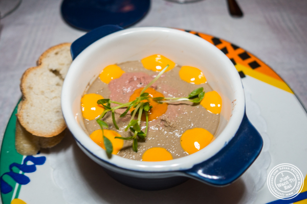 Chicken liver and mushroom mousse at Paname, French restaurant, in 纽约市, NY
