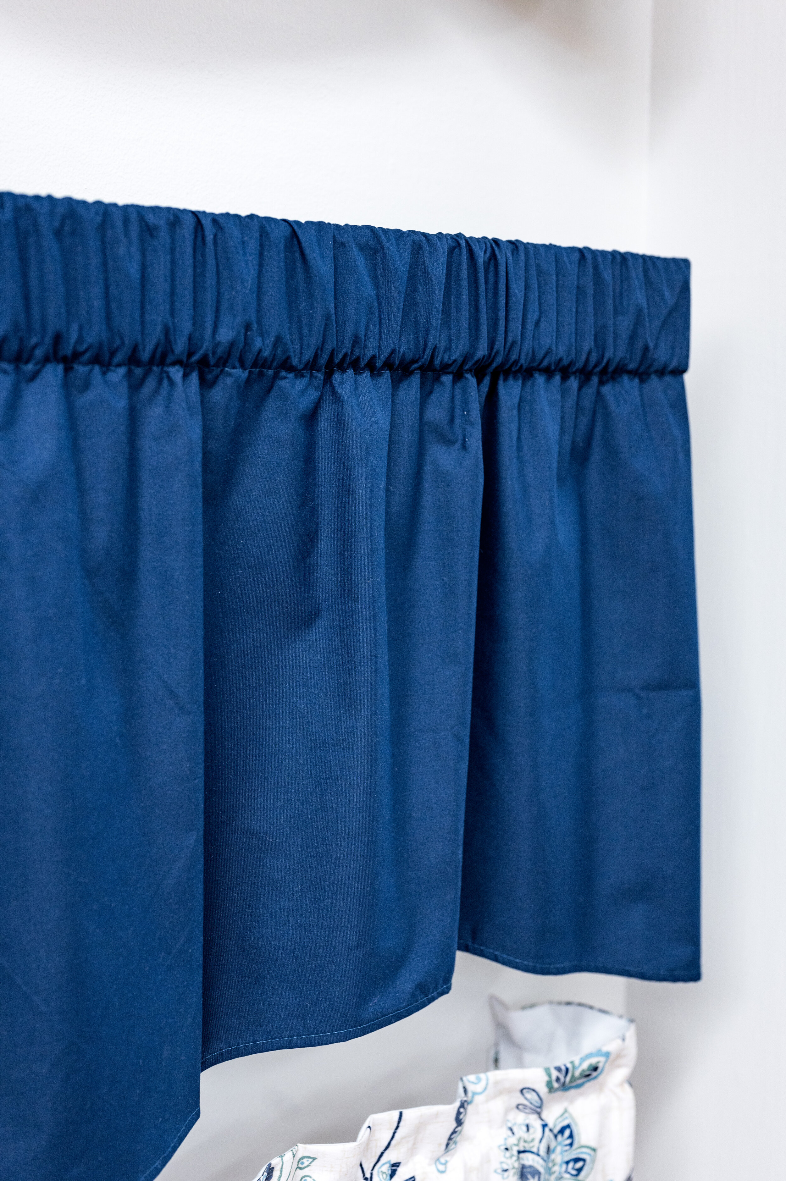 Pres Lined Valance Navy Curtains Blinds Bath