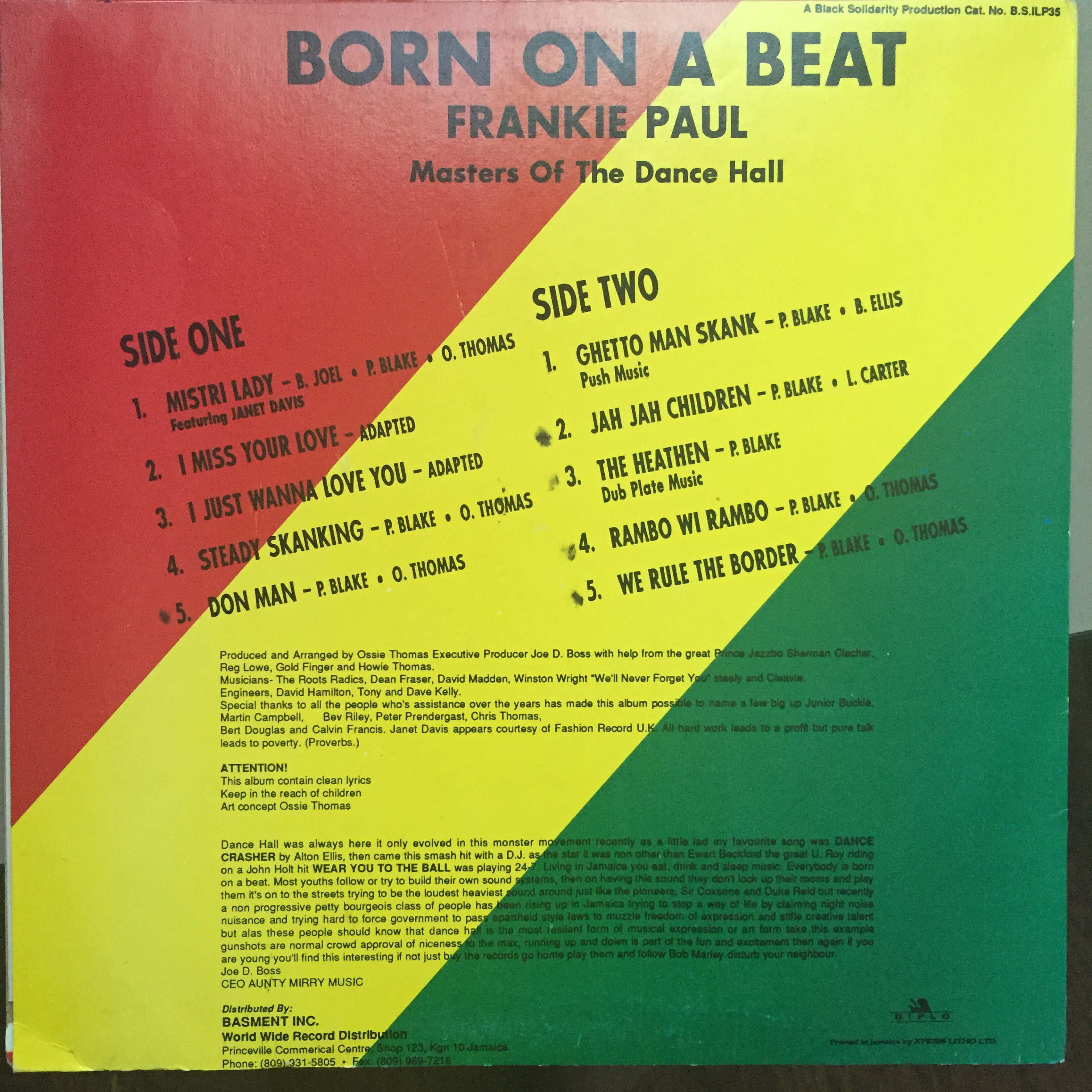 Frankie Paul – Born On A Beat - Black Solidarity LP 33T VG+ — OHM RECORDS