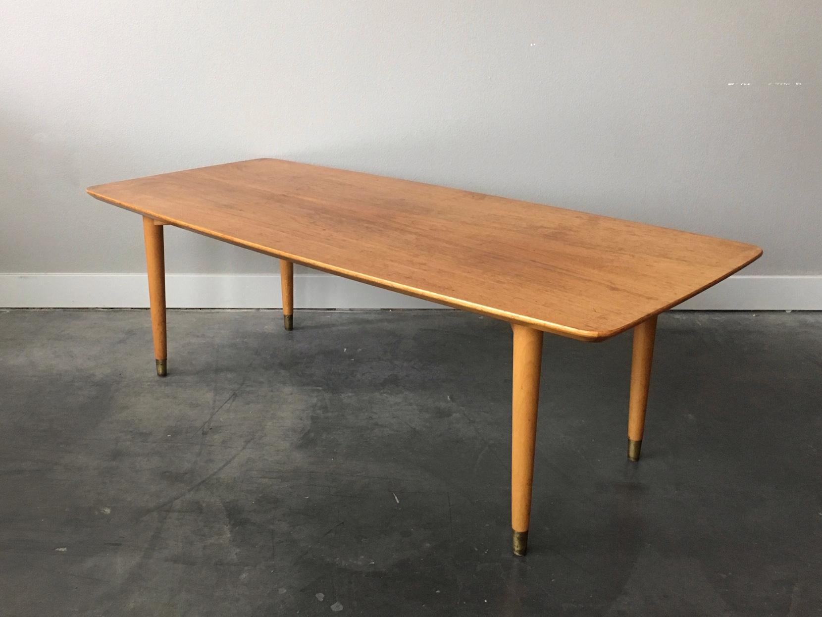 Vintage Mid Century Modern Blonde Coffee Table Rerunroom Vintage