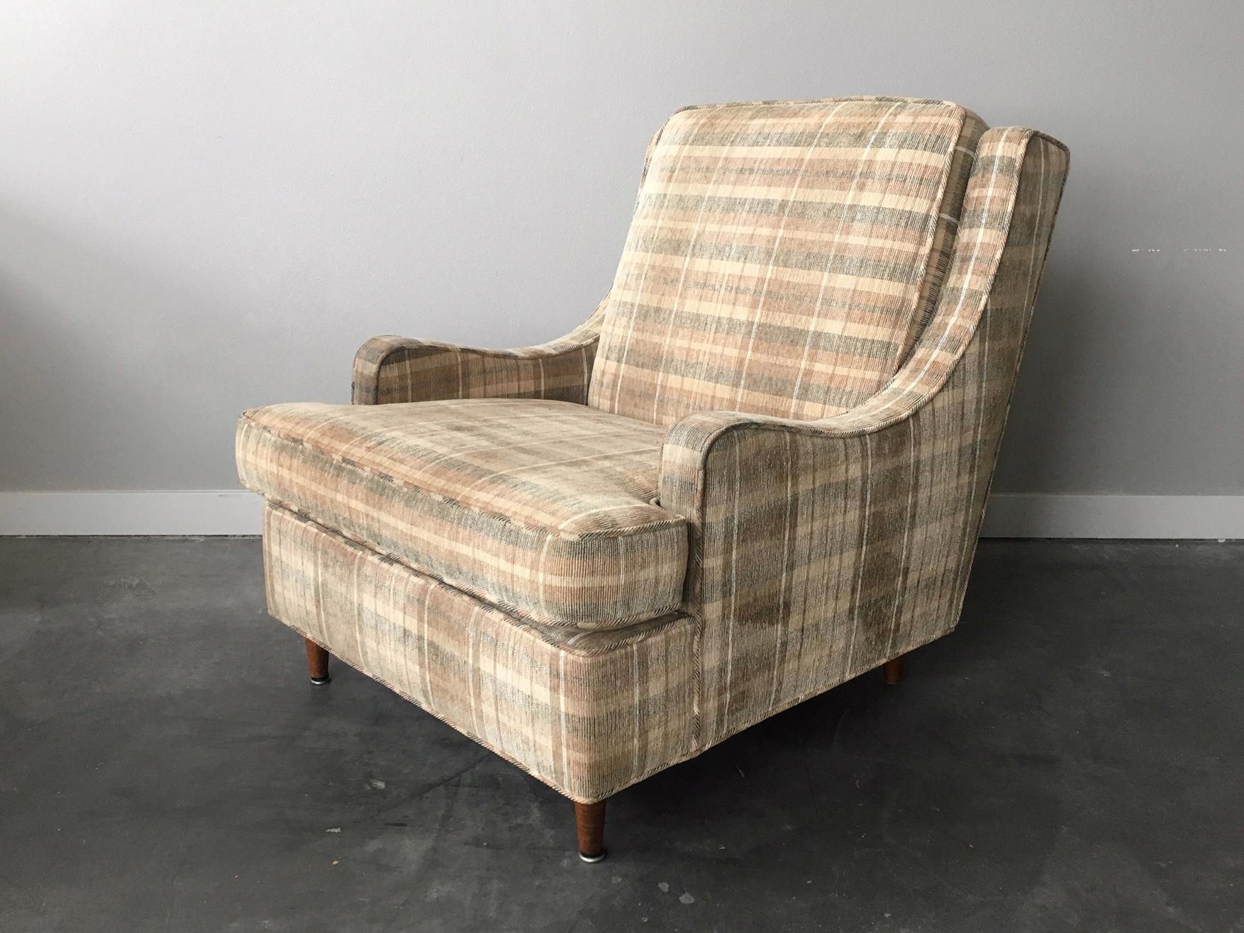 Vintage Mid Century Modern Plaid Lounge Chair Rerunroom Vintage