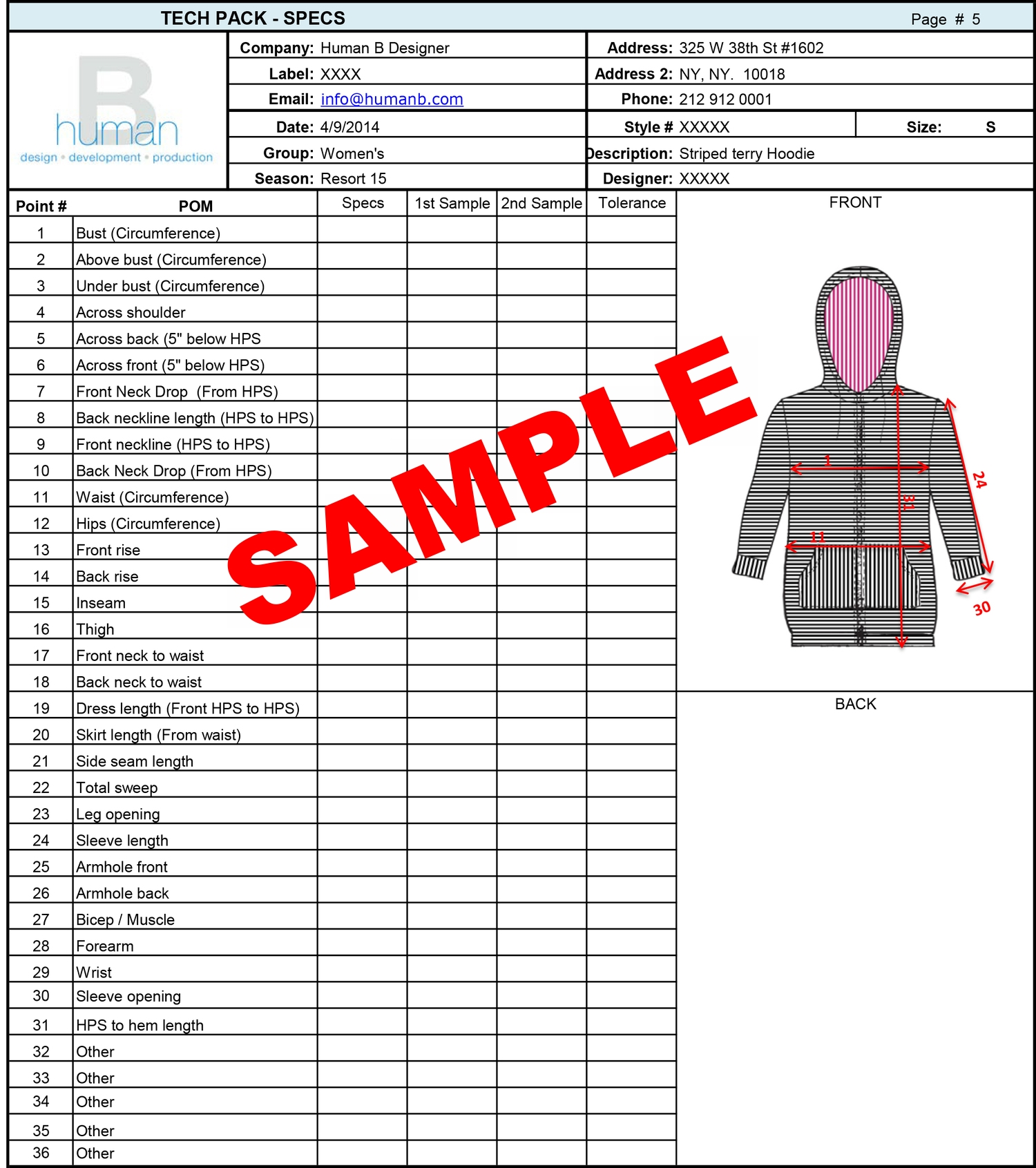 Tech Pack Template Fashion Business Solutions Human B