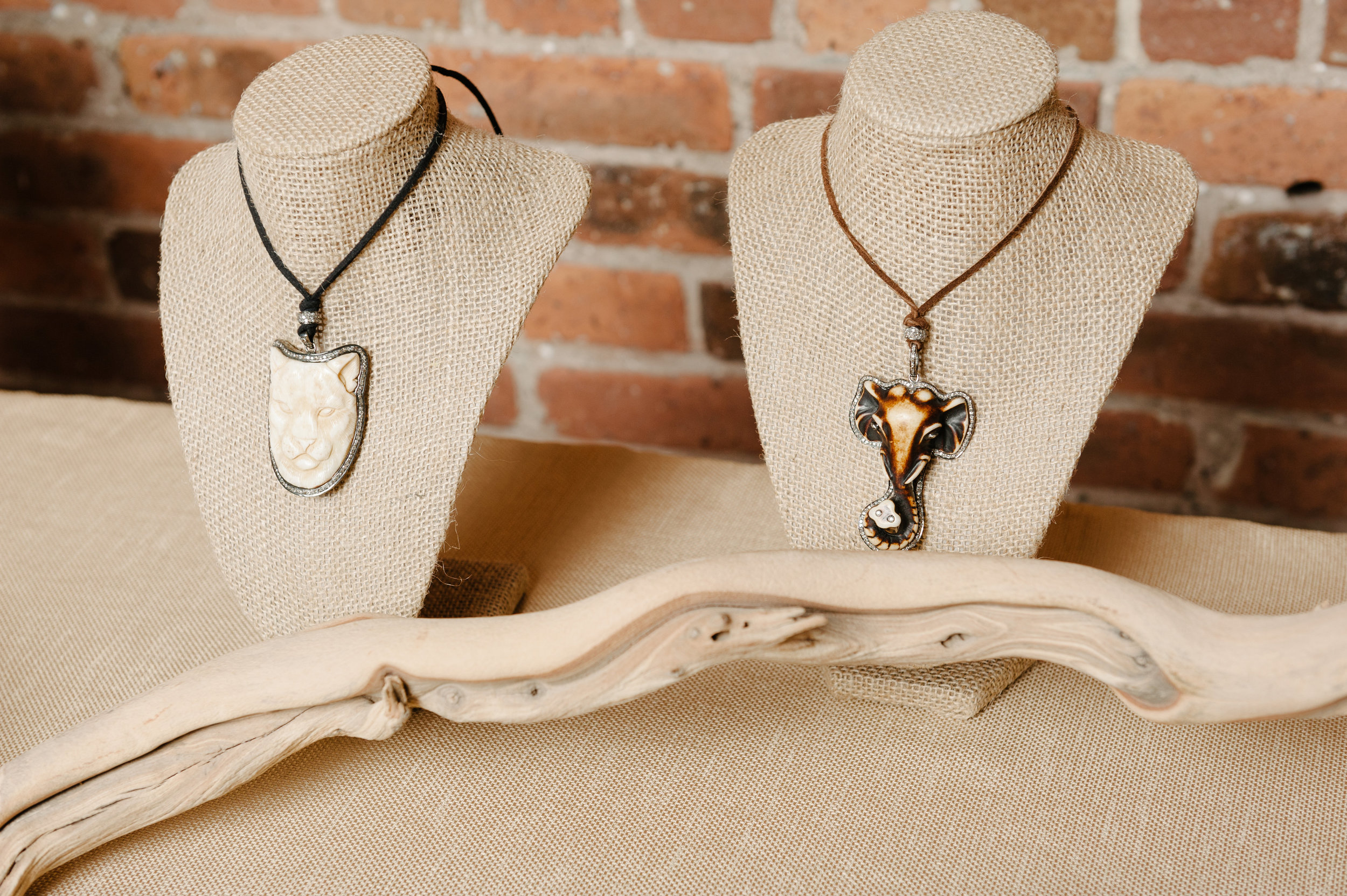Lucky Elephant Hand Carved Bone Pendant In Sterling Silver And Black Rhodium With Champagne Diamonds On A Brown Suede Adjustable Cord Necklace Rox By Two