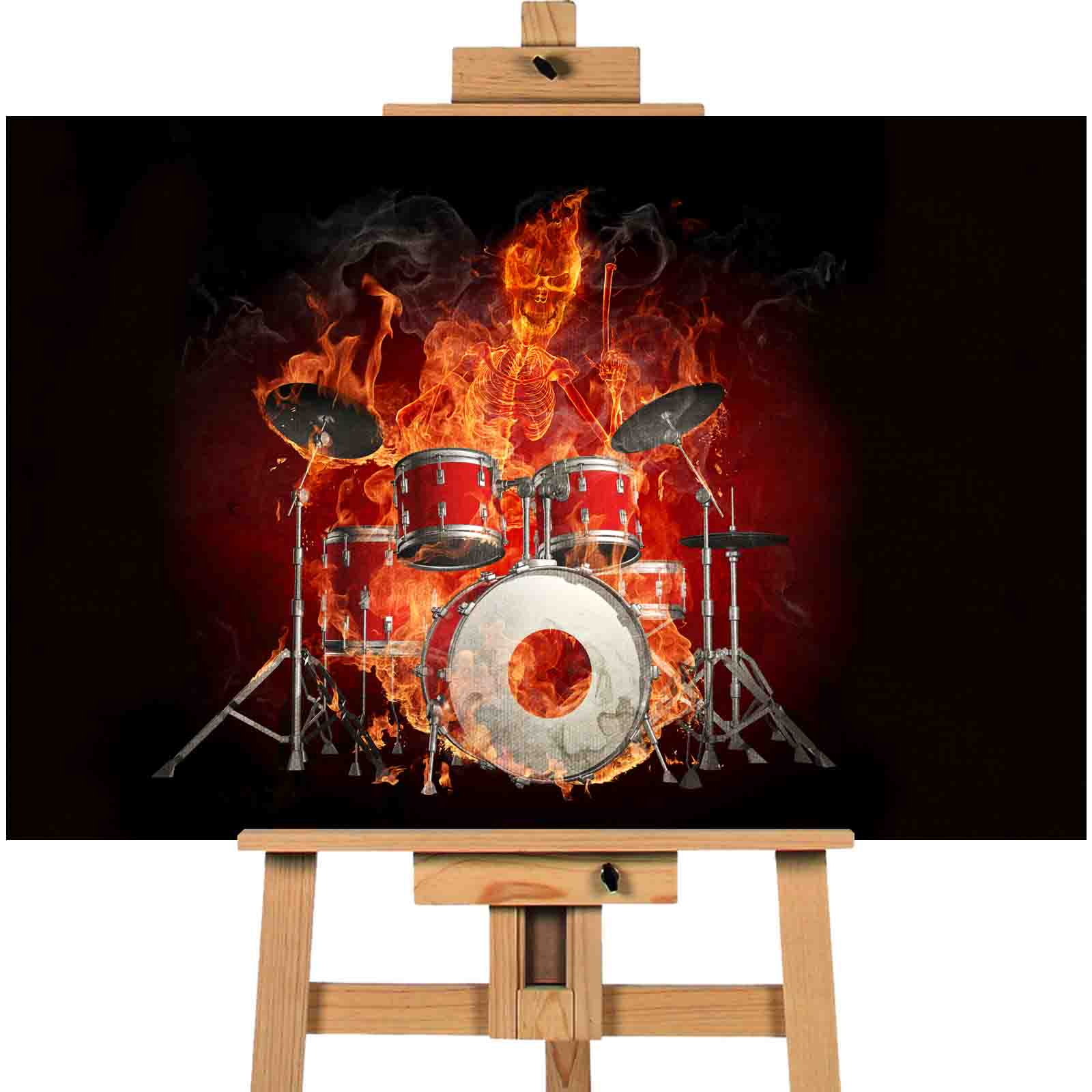 Skeleton On Fire Drummer — Canvas Town