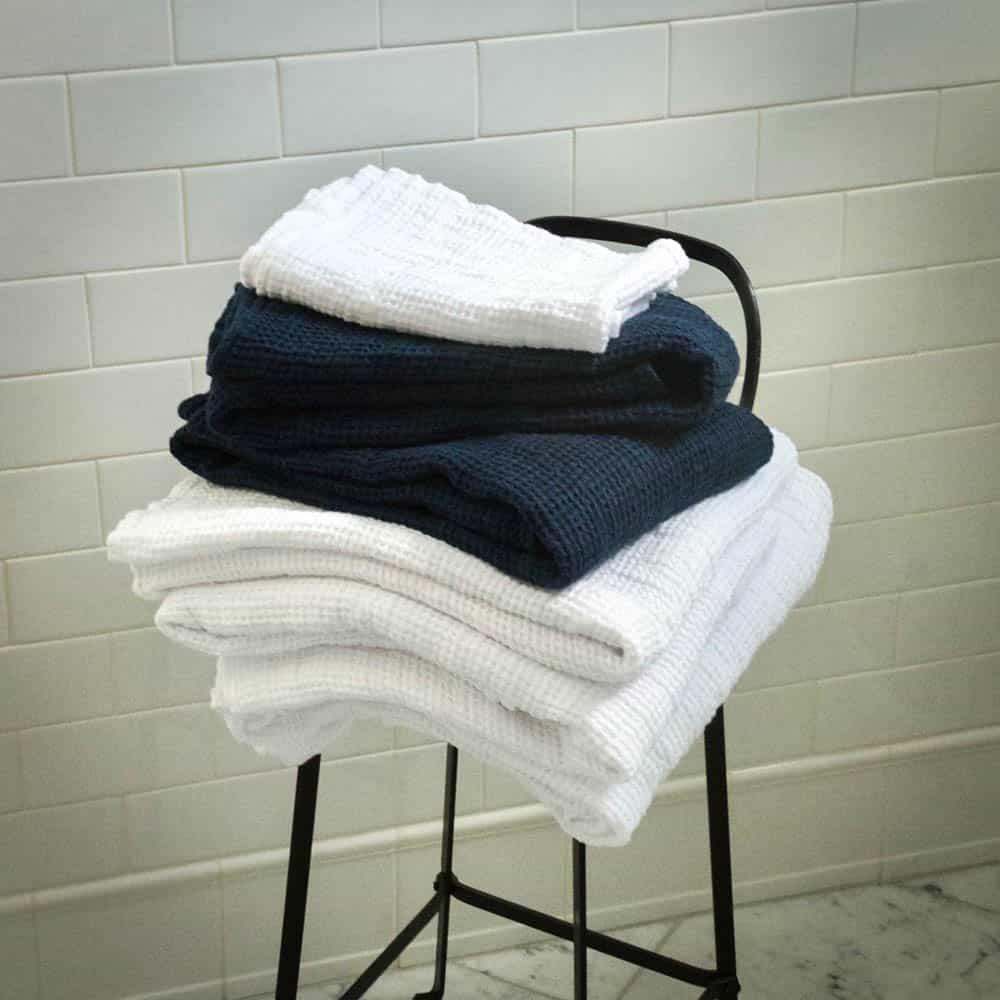 European Luxury Waffle Weave Bath Towels Weston Table