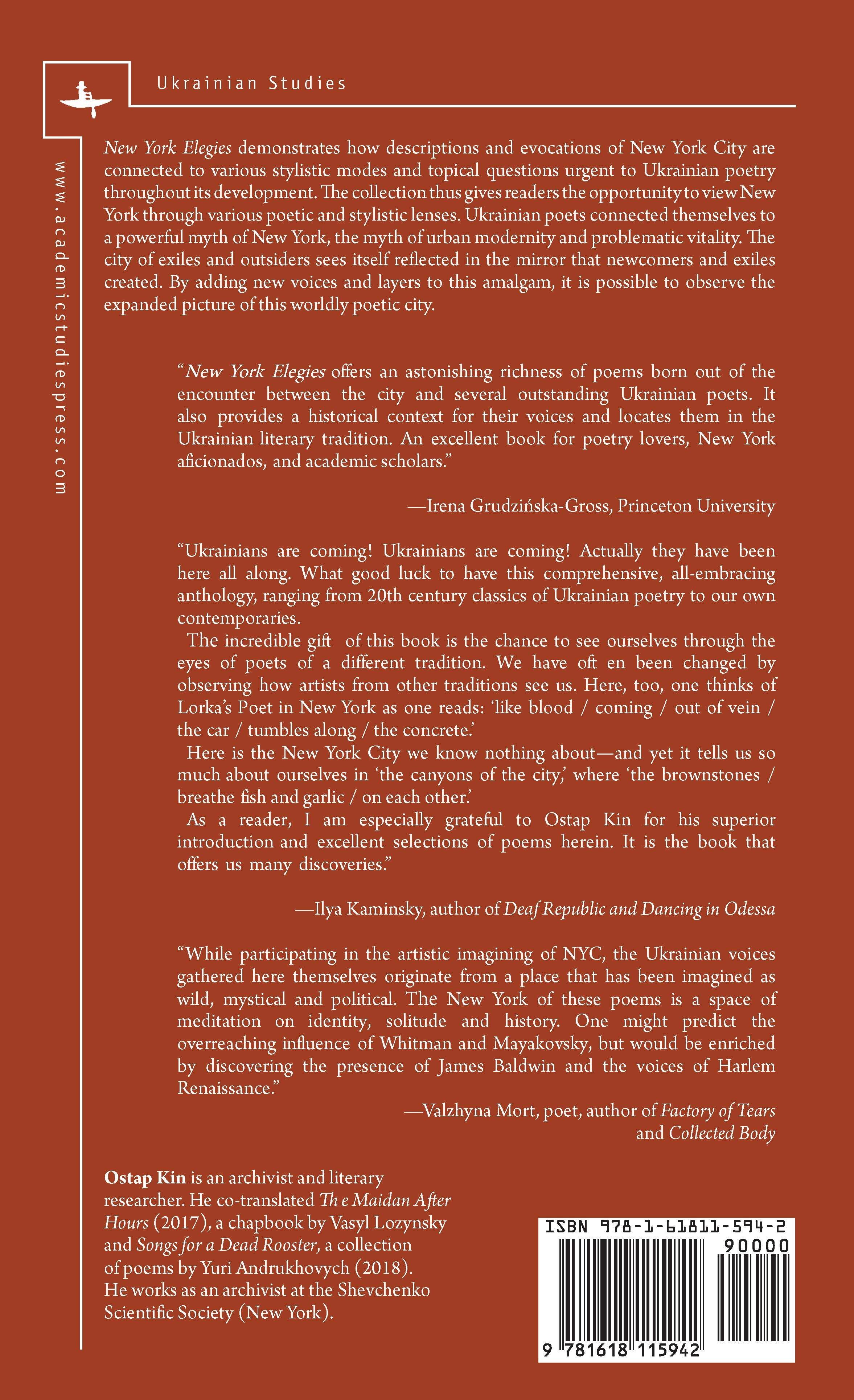 New York Elegies Ukrainian Poems On The City Academic Studies Press