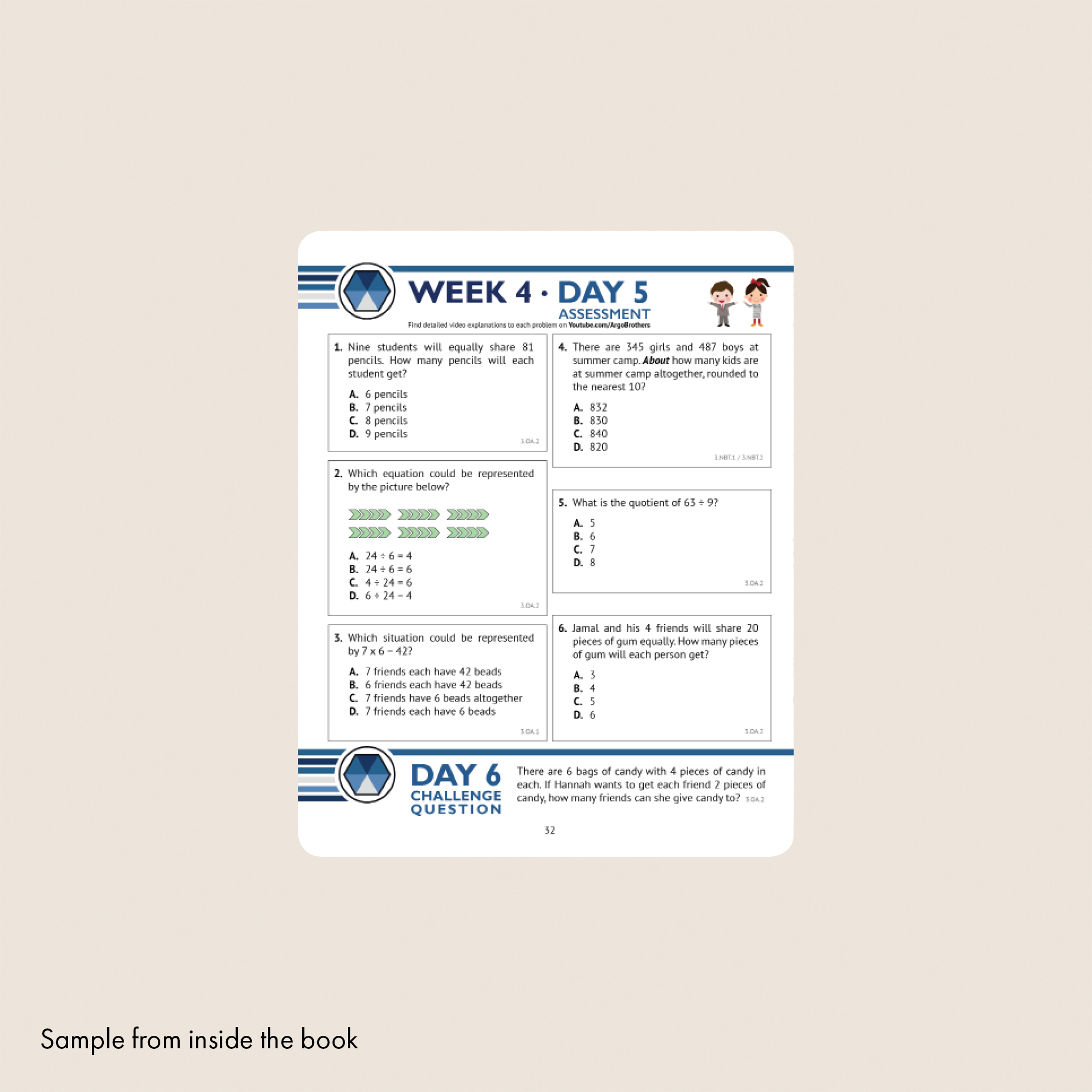 3rd Grade Common Core Math Workbook (Multiple Choice) — Argo Brothers