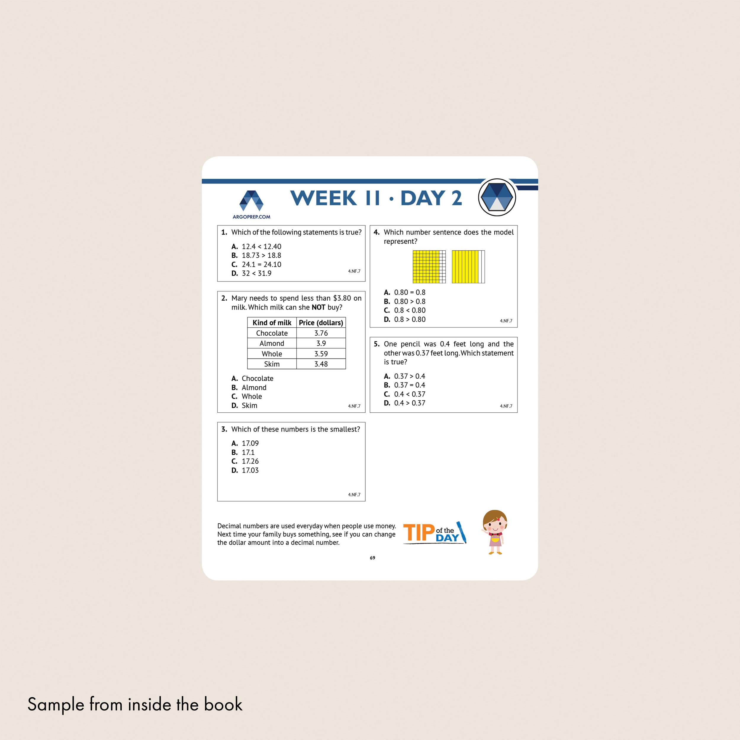 4th Grade Common Core Math Workbook (Multiple Choice) — Argo Brothers