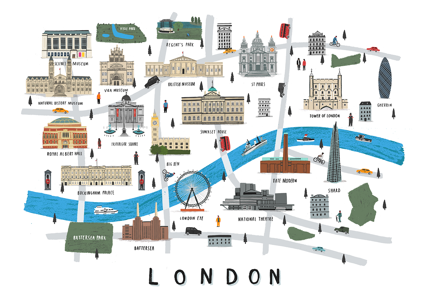 London Landmarks Map.London Map Print Alex Foster