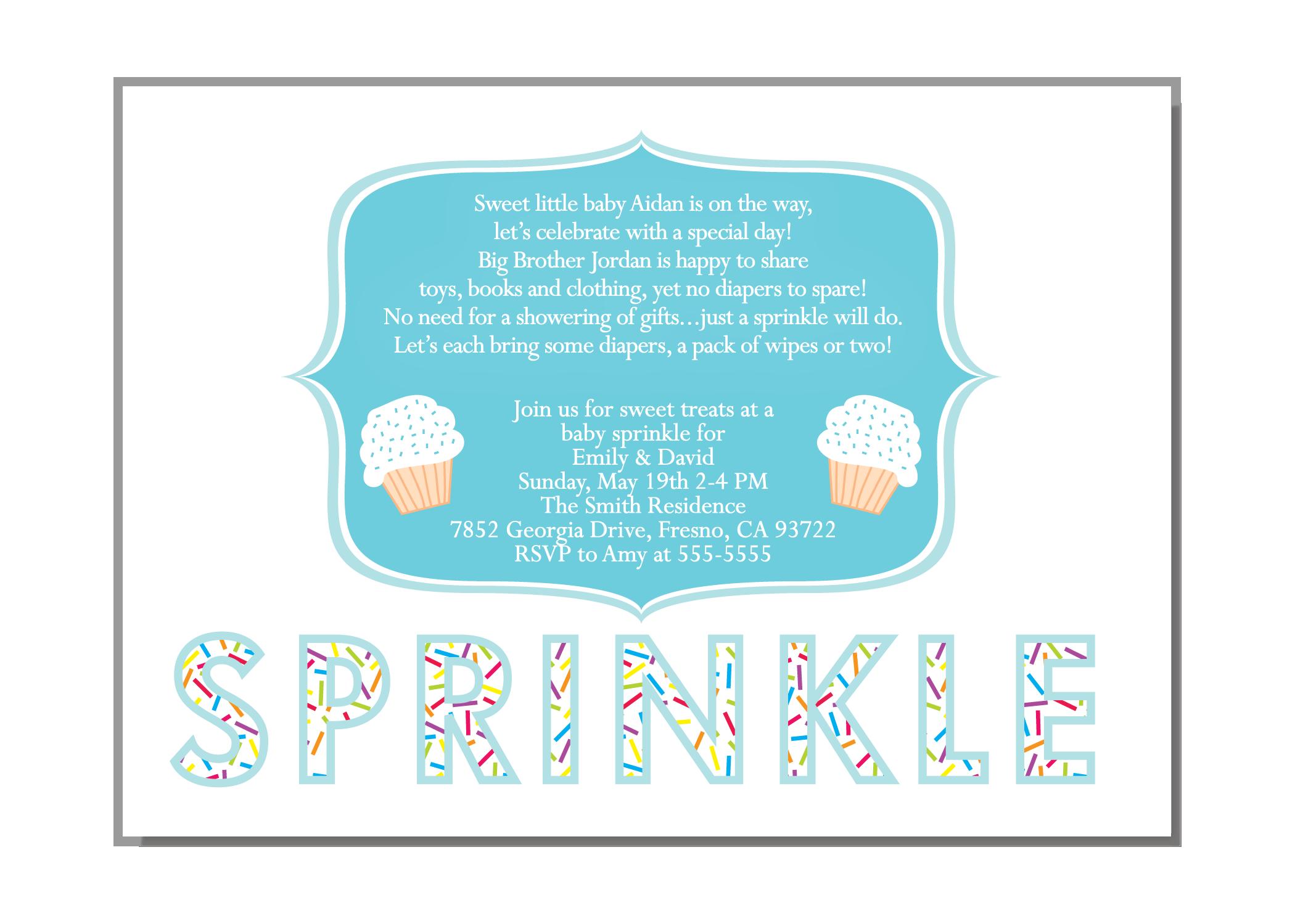 Cupcake Boy Baby Sprinkle Invitation