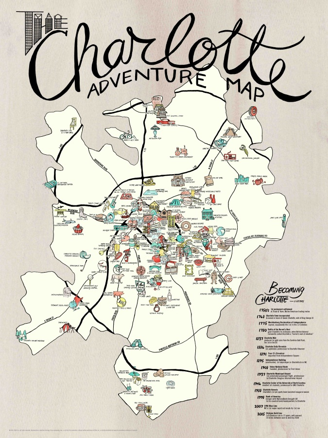 MAP + POSTER SET | Charlotte Adventure — EDIA Maps . NC + SC food &  adventure maps
