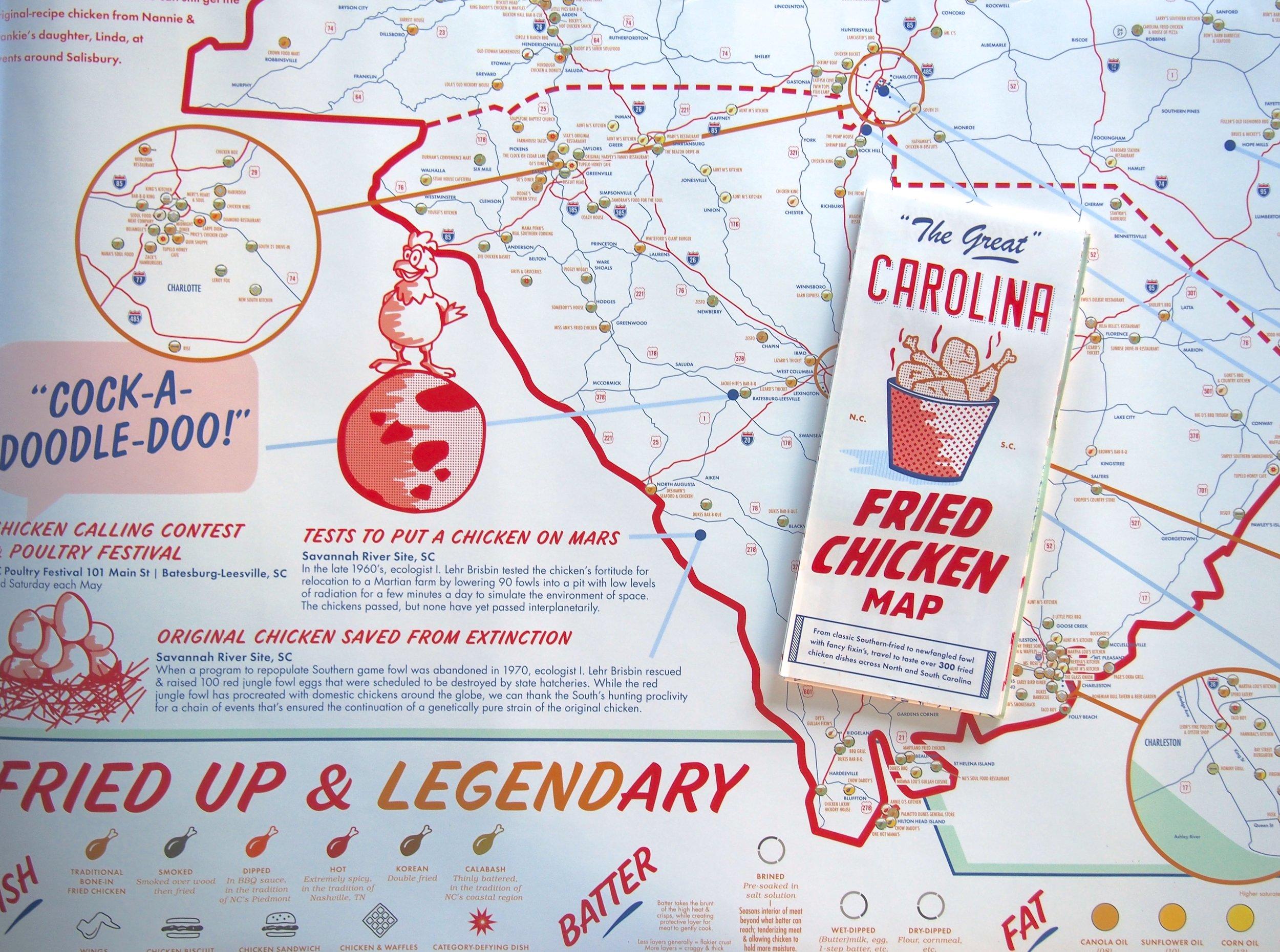 Map + Poster Set | NC + SC Fried Chicken — EDIA Maps . NC + SC food &  adventure maps