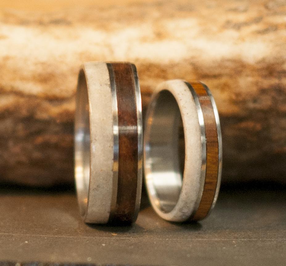 Wood Wedding Rings.The Raptor Matching Set Of Antler Wood Wedding Bands Available In Titanium Silver Black Zirconium Damascus Steel 14k White Rose Or Yellow