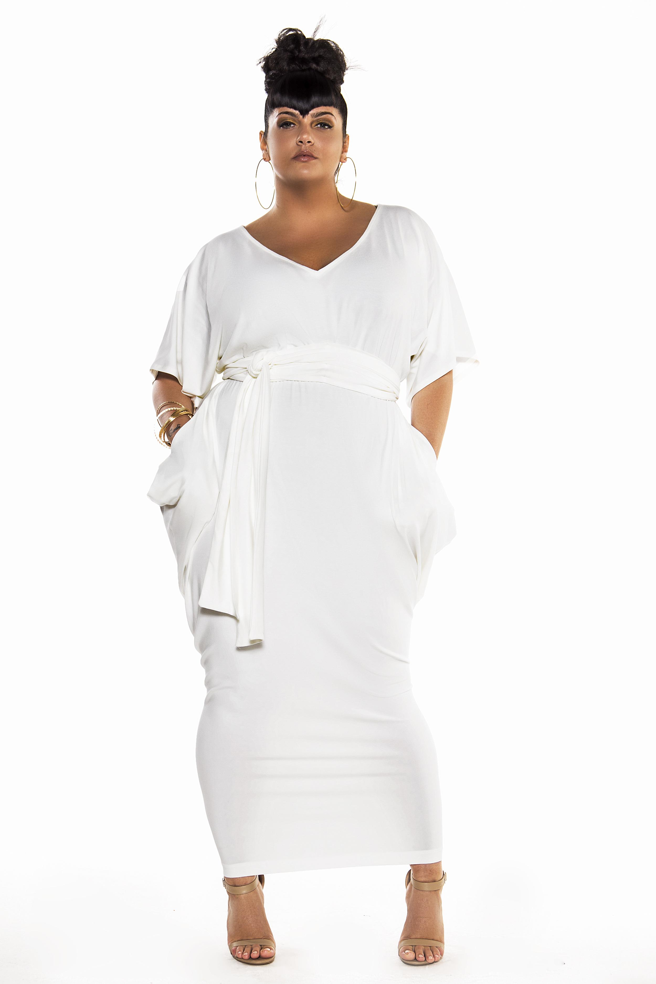 JIBRI Bat Sleeved Slouch V Neck Maxi Dress — JIBRI