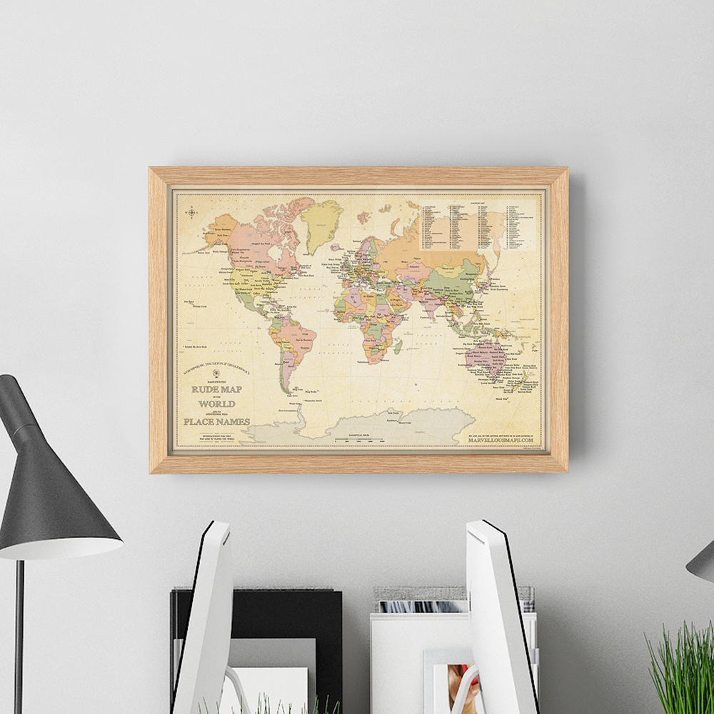 Australia Map Rude Names.Stg S Magnificently Rude Map Of World Place Names Framed St G S Marvellous Maps