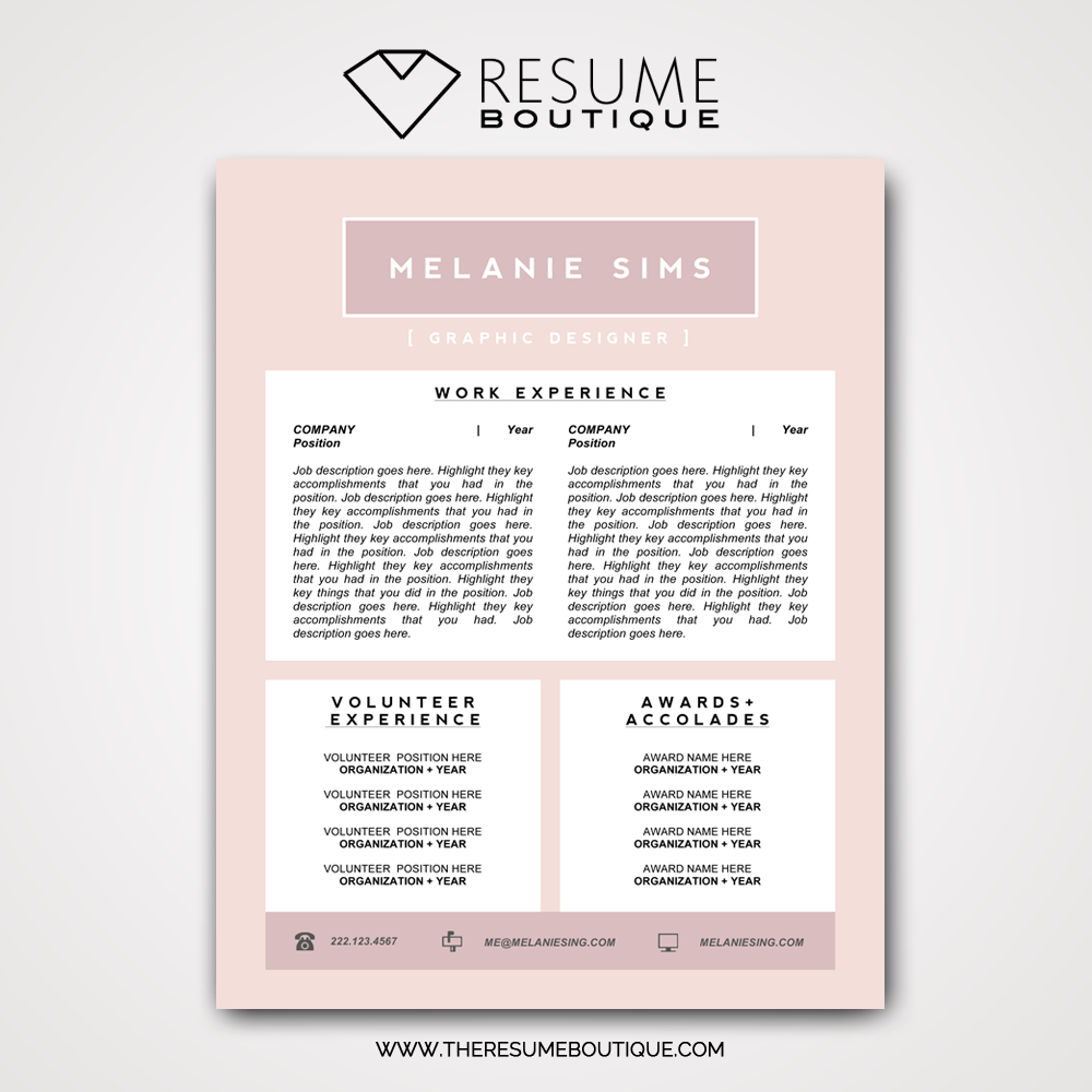 The Pretty In Pink Resume Boutique