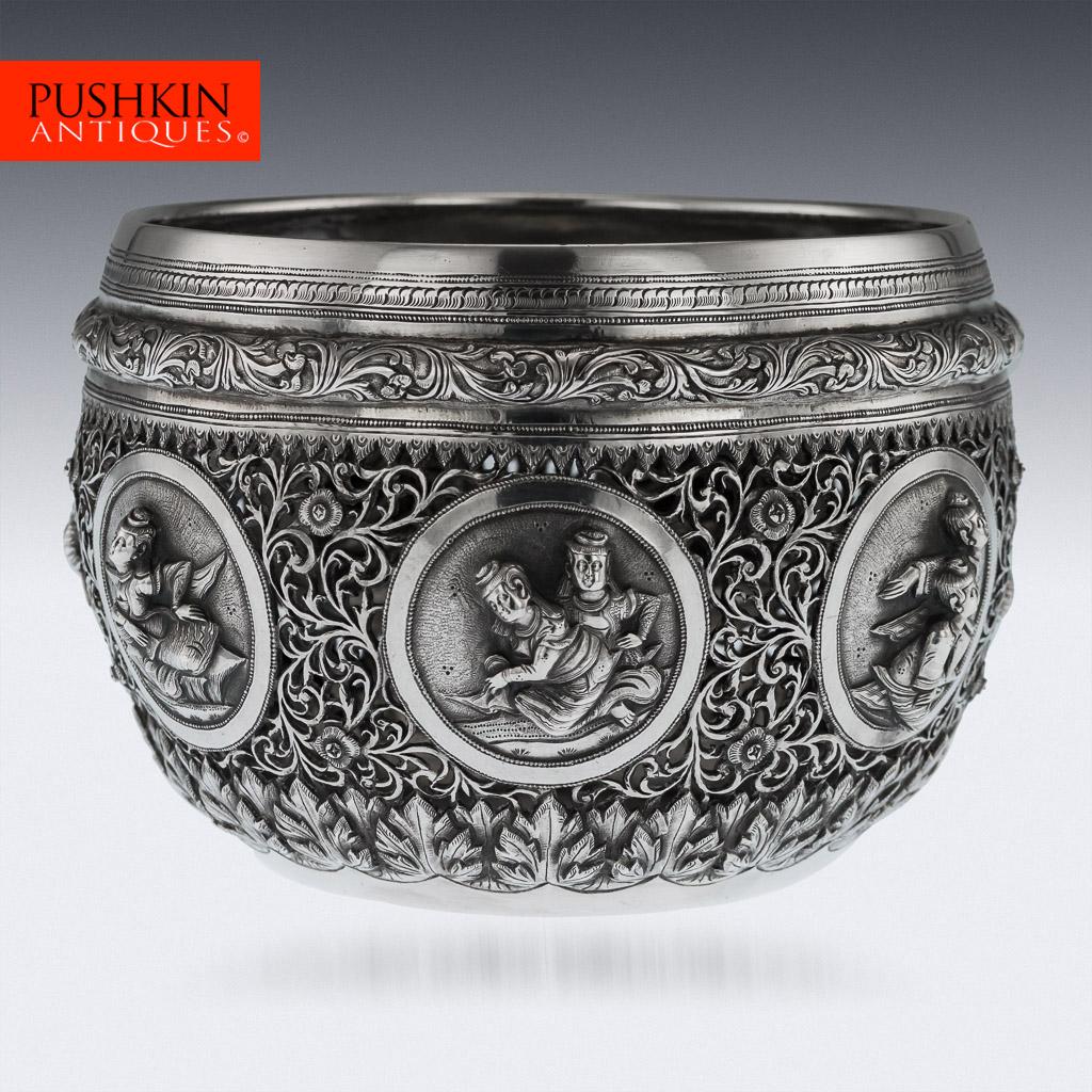 Antique 20thc Burmese Solid Silver Bowl