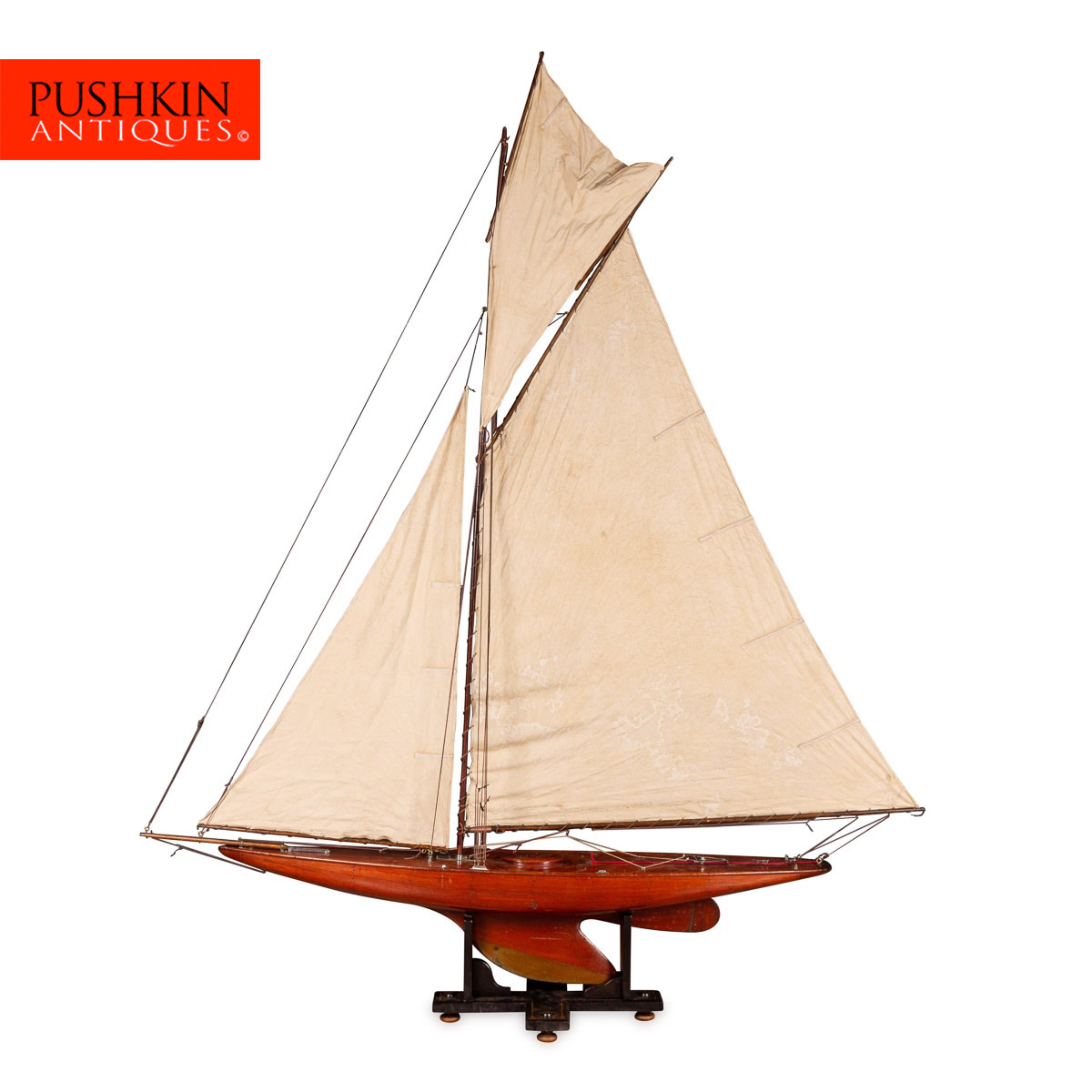 Pushkin Antiques — ANTIQUE 20thC ENGLISH GAFF RIGGED RACING POND YACHT  c 1920