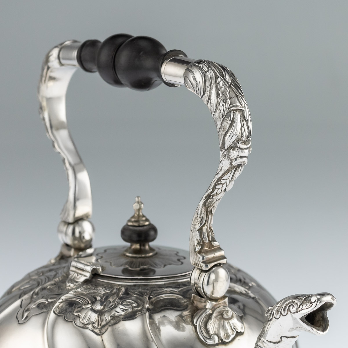 Pushkin Antiques — ANTIQUE 18thC IMPERIAL RUSSIAN SOLID SILVER TEA KETTLE  ON STAND, MOSCOW c 1761